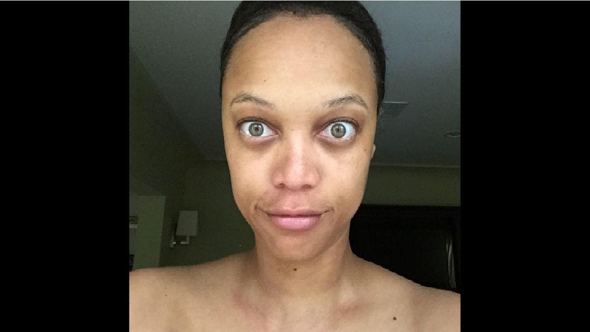 Tyra Banks poses for a makeup-free photo