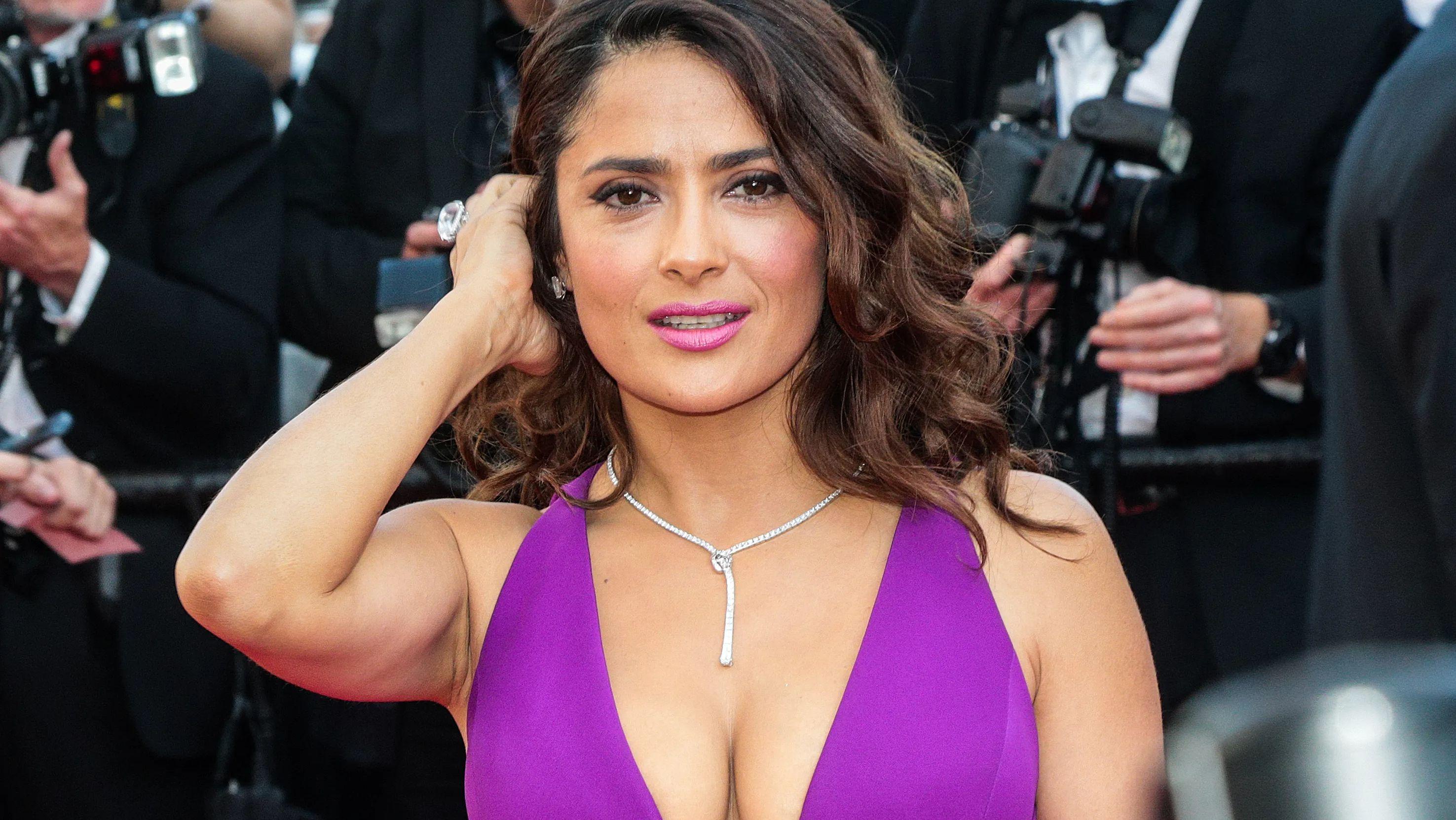 Salma Hayek in purple dress