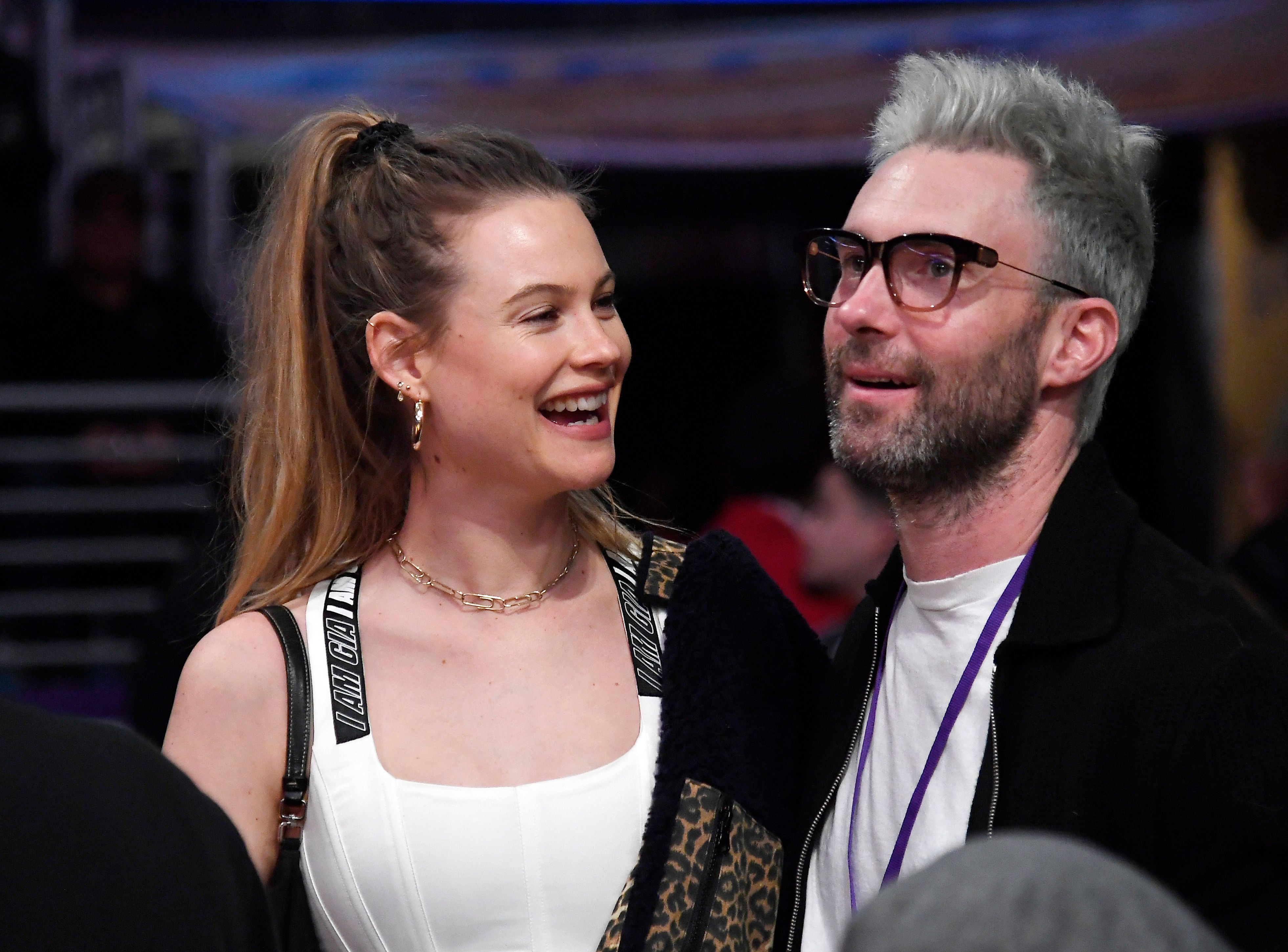 Singer Adam Lavine with model wife Behati Prinsloo