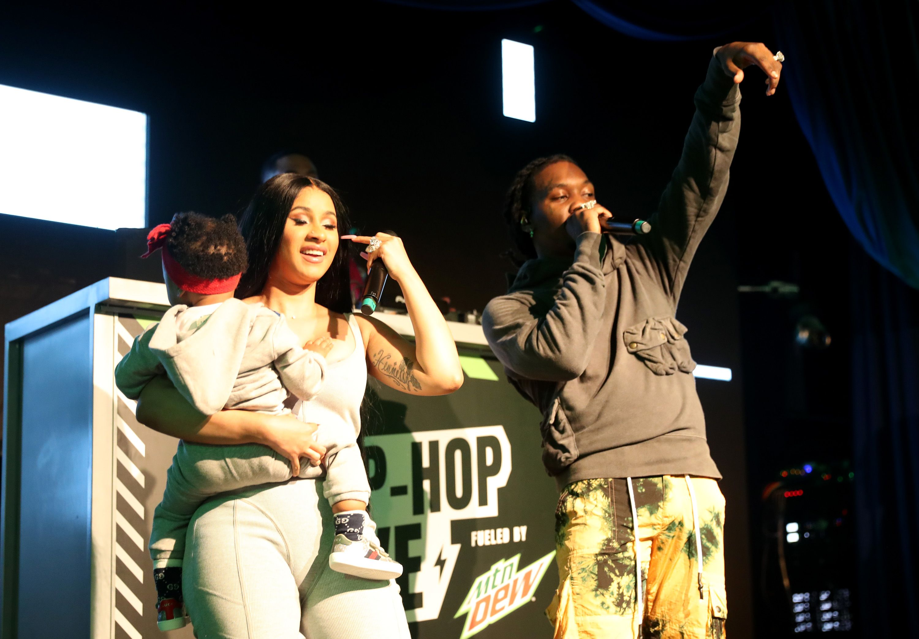 Cardi B with her husband Offset and daughter Kulture.