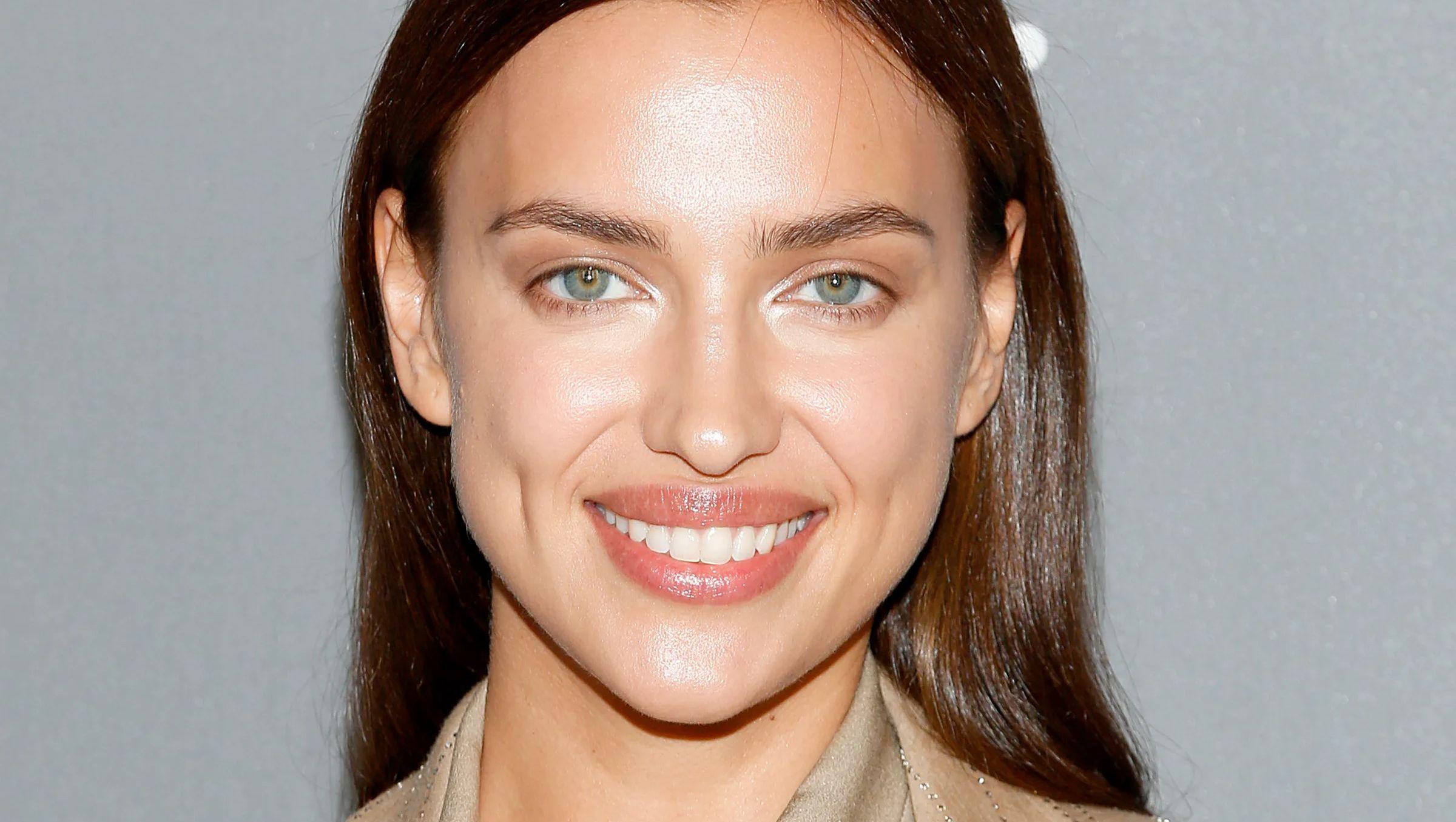 Irina Shayk smiles close up