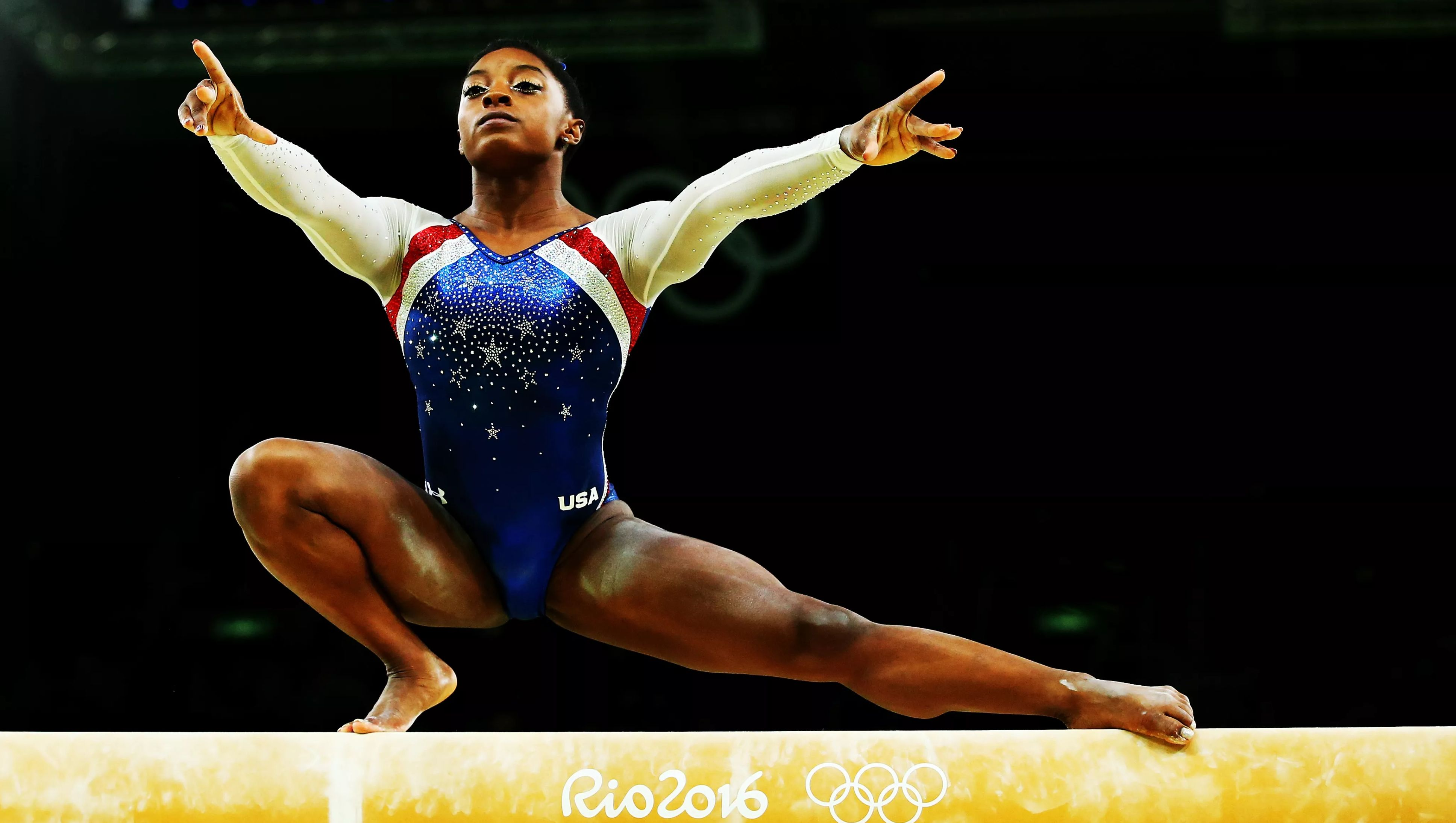 RIO DE JANEIRO, BRAZIL - AUGUST 11: Simone Biles of the United States competes on the balance beam during the Women's Individual All Around Final on Day 6 of the 2016 Rio Olympics at Rio Olympic Arena on August 11, 2016 in Rio de Janeiro, Brazil.