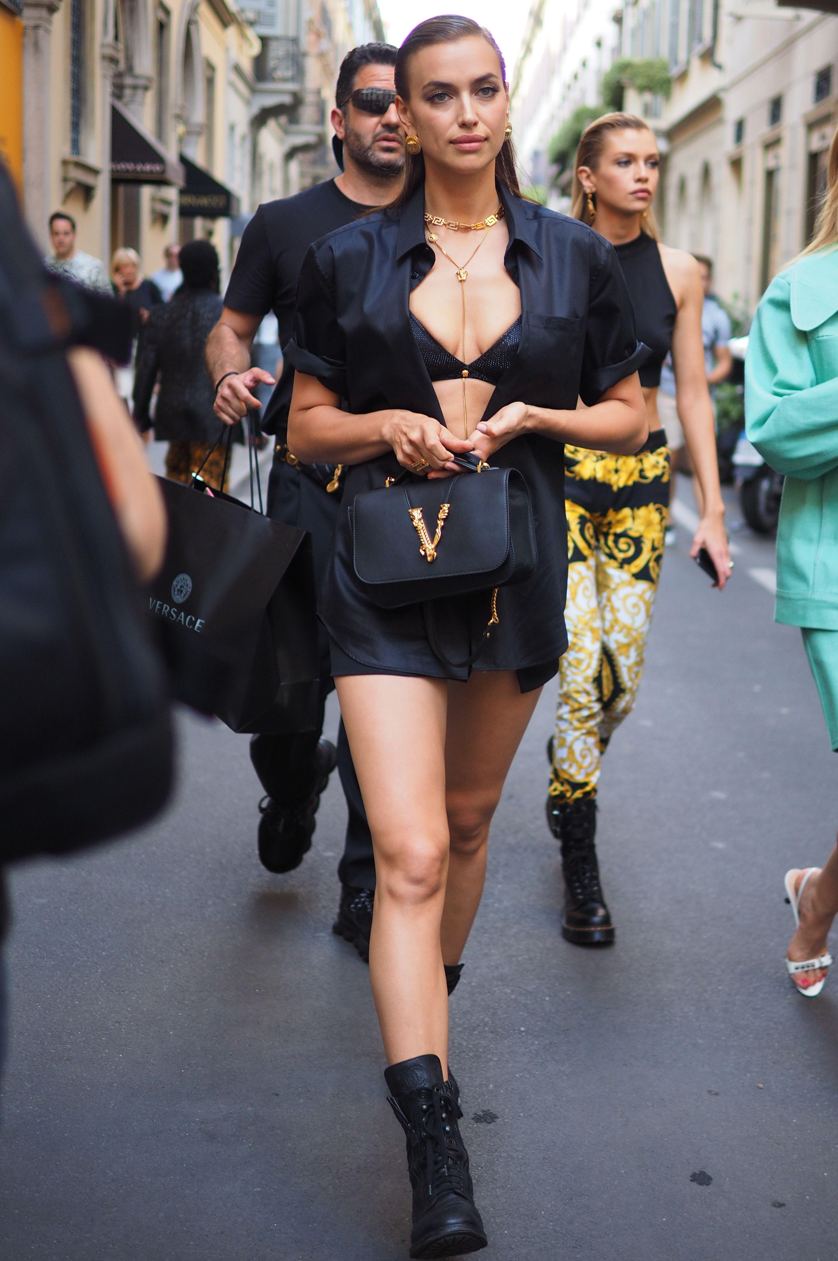 Irina Shayk in the street in open dress