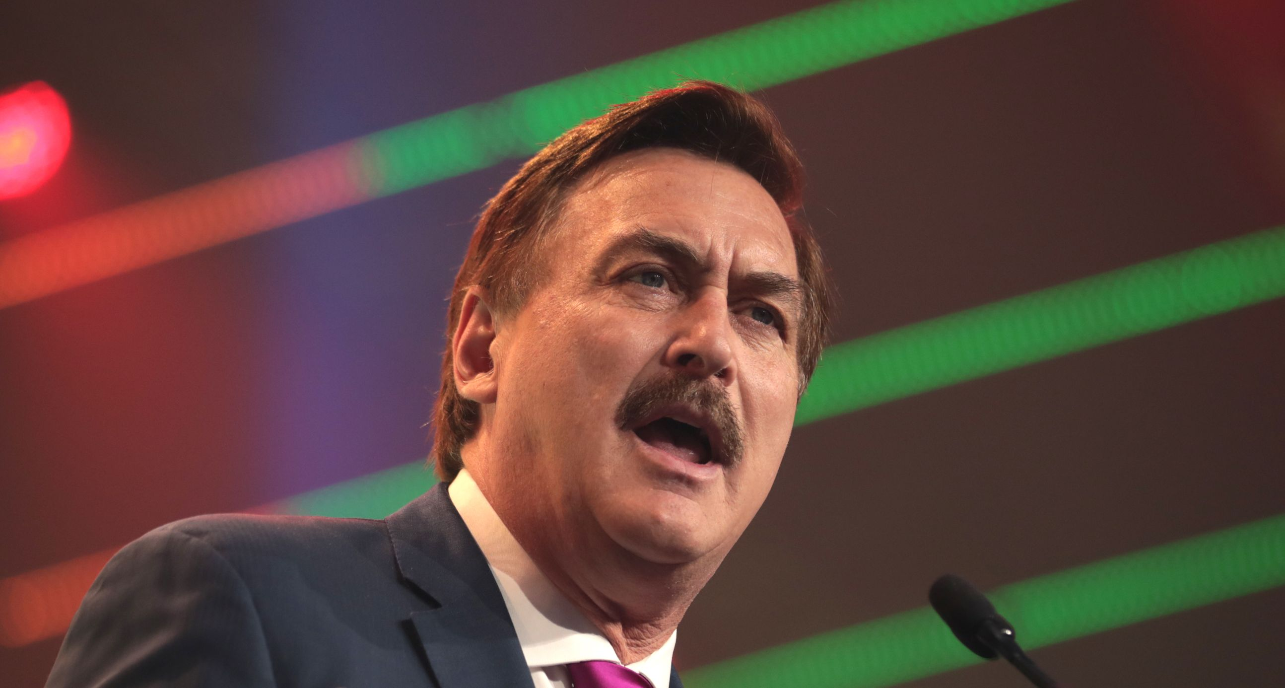MyPillow CEO Mike Lindell delivers a speech.