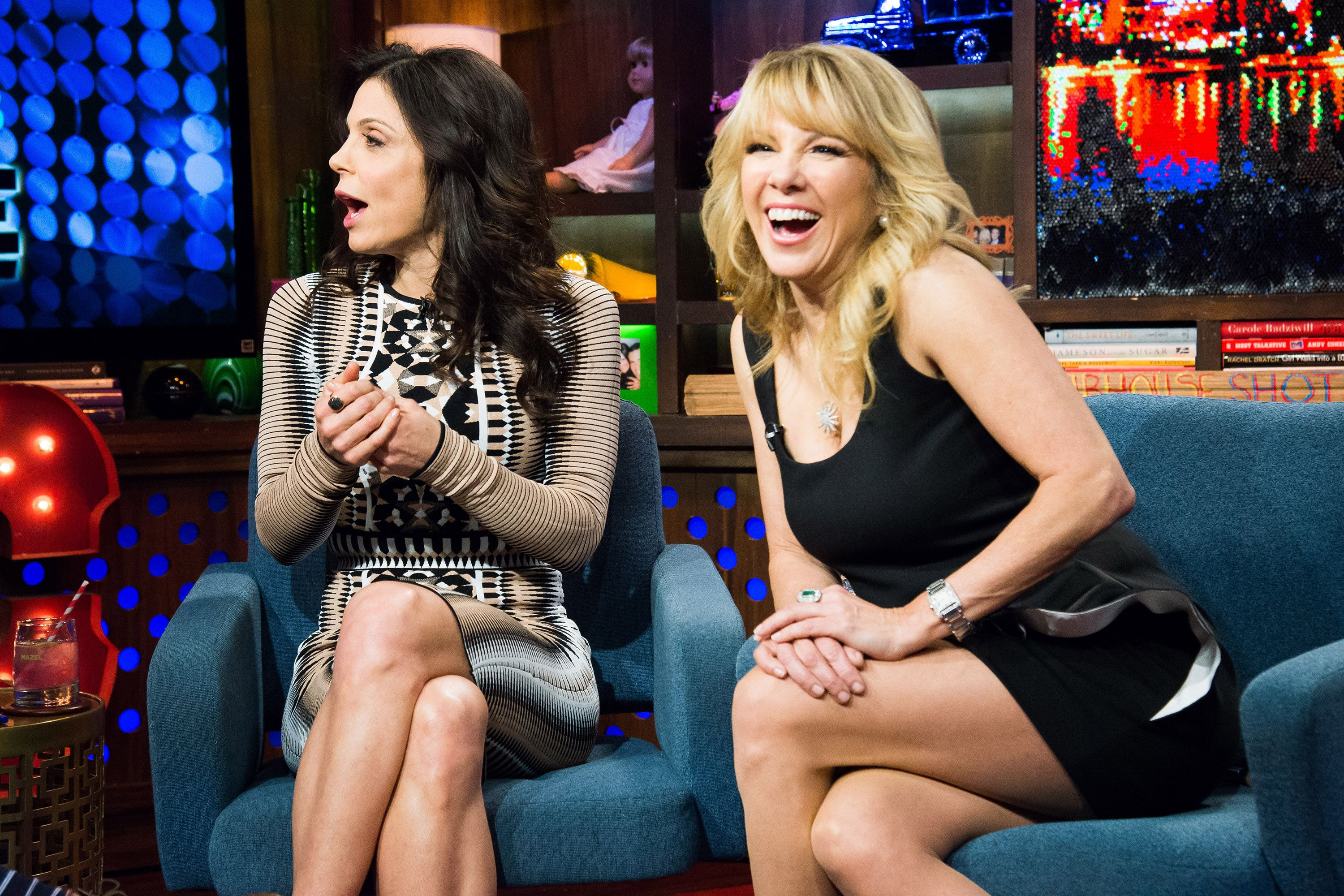 "Bethenny Frankel and Ramona Singer aooear on an episode of ""Watch What Happens Live with Andy Cohen."""