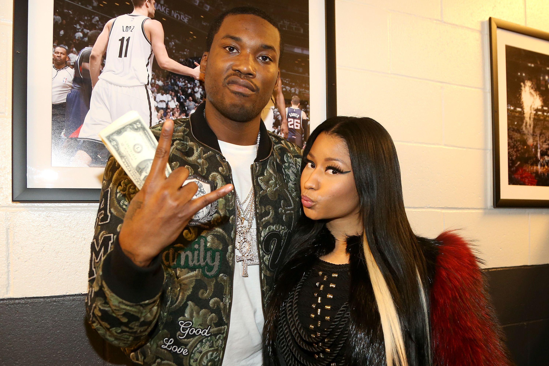 Meek Mill and Nicki Minaj posing together