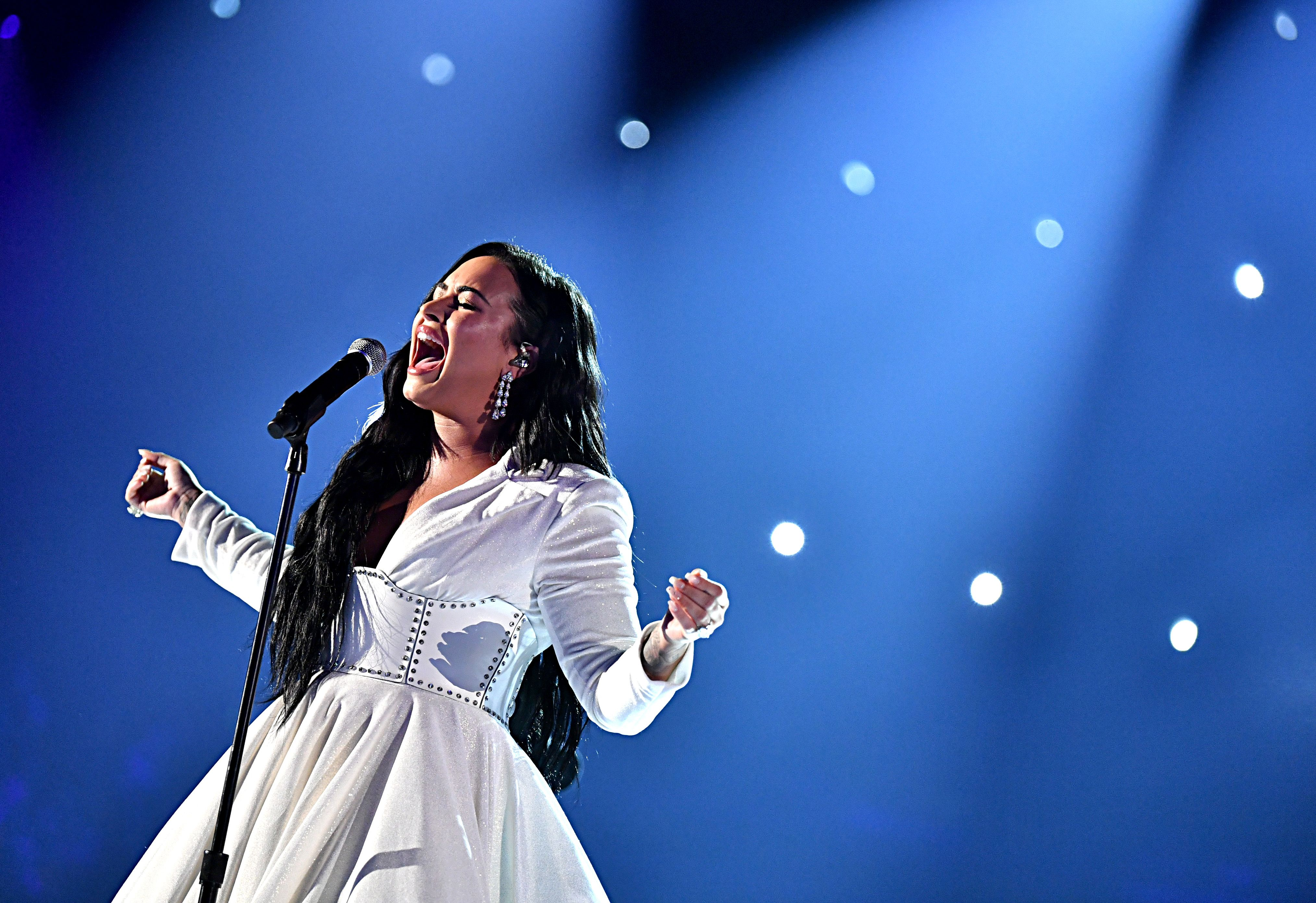 Demi Lovato performing at the Grammys.