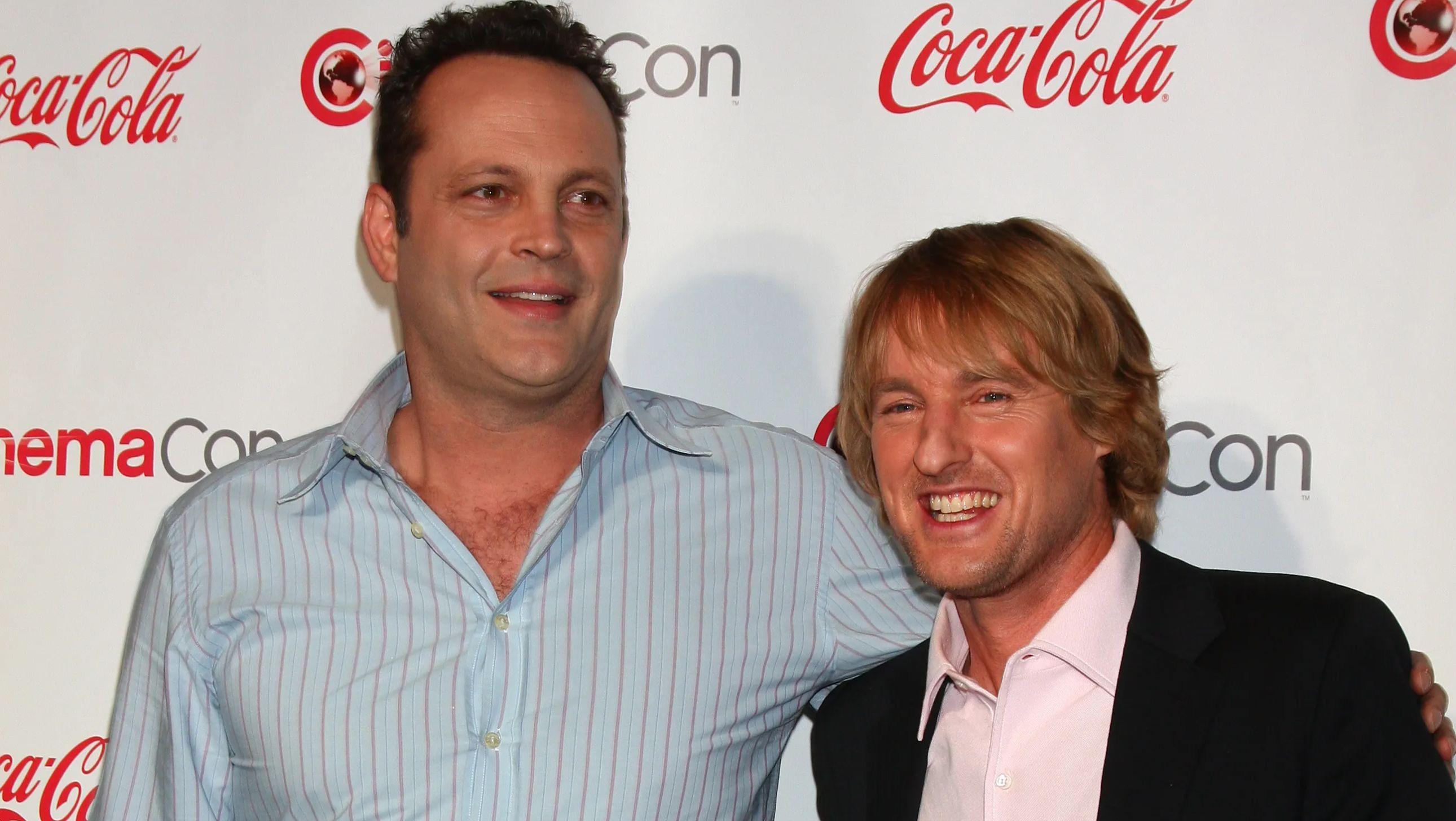 Vinve Vaughn & Owen Wilson smiling at CinemaCon