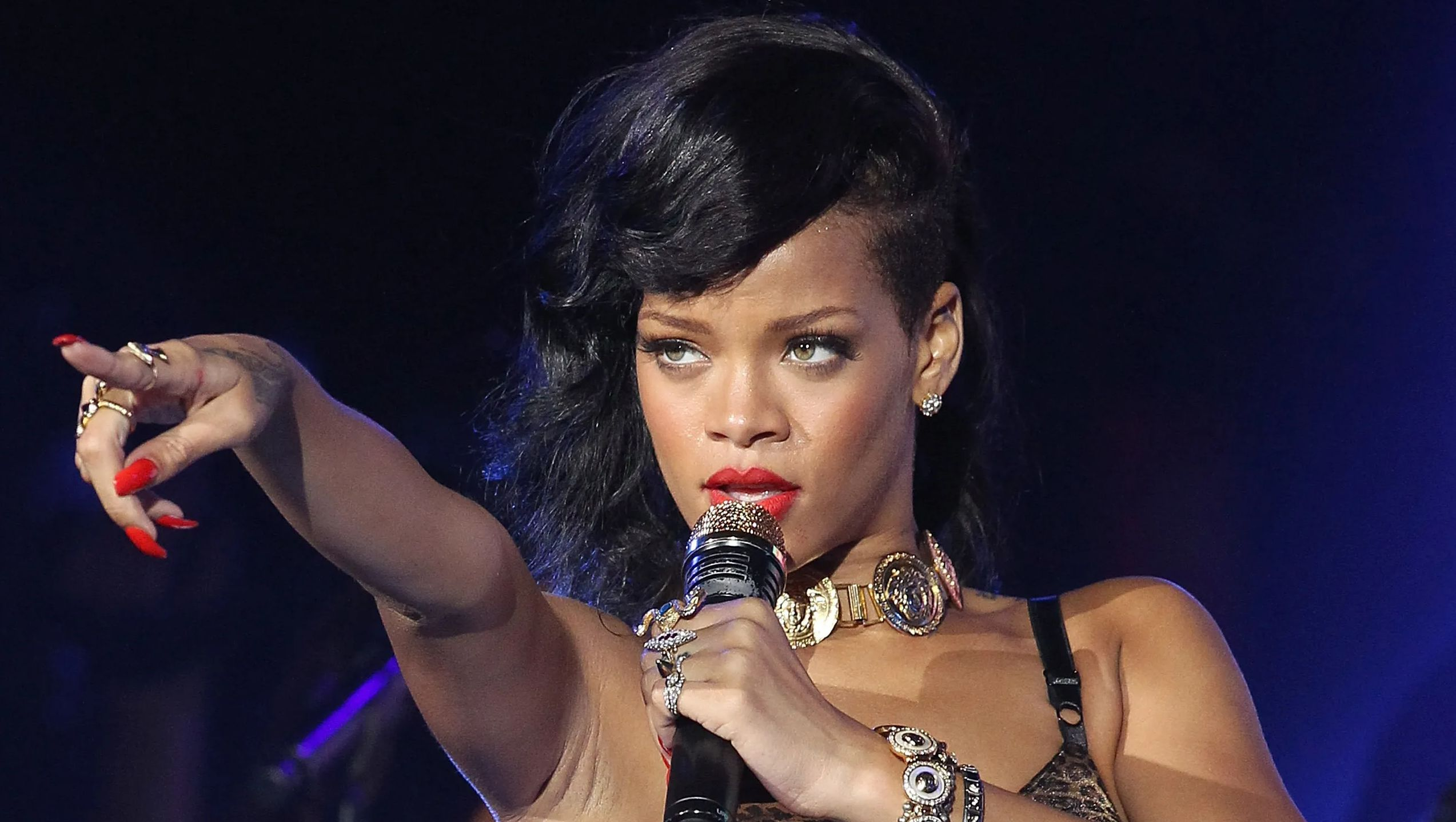 Rihanna performing onstage