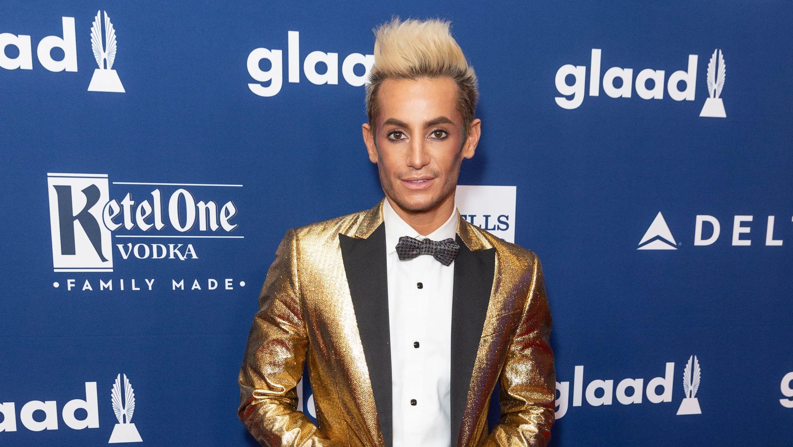 Frankie Grande in a gold metallic suit jackett