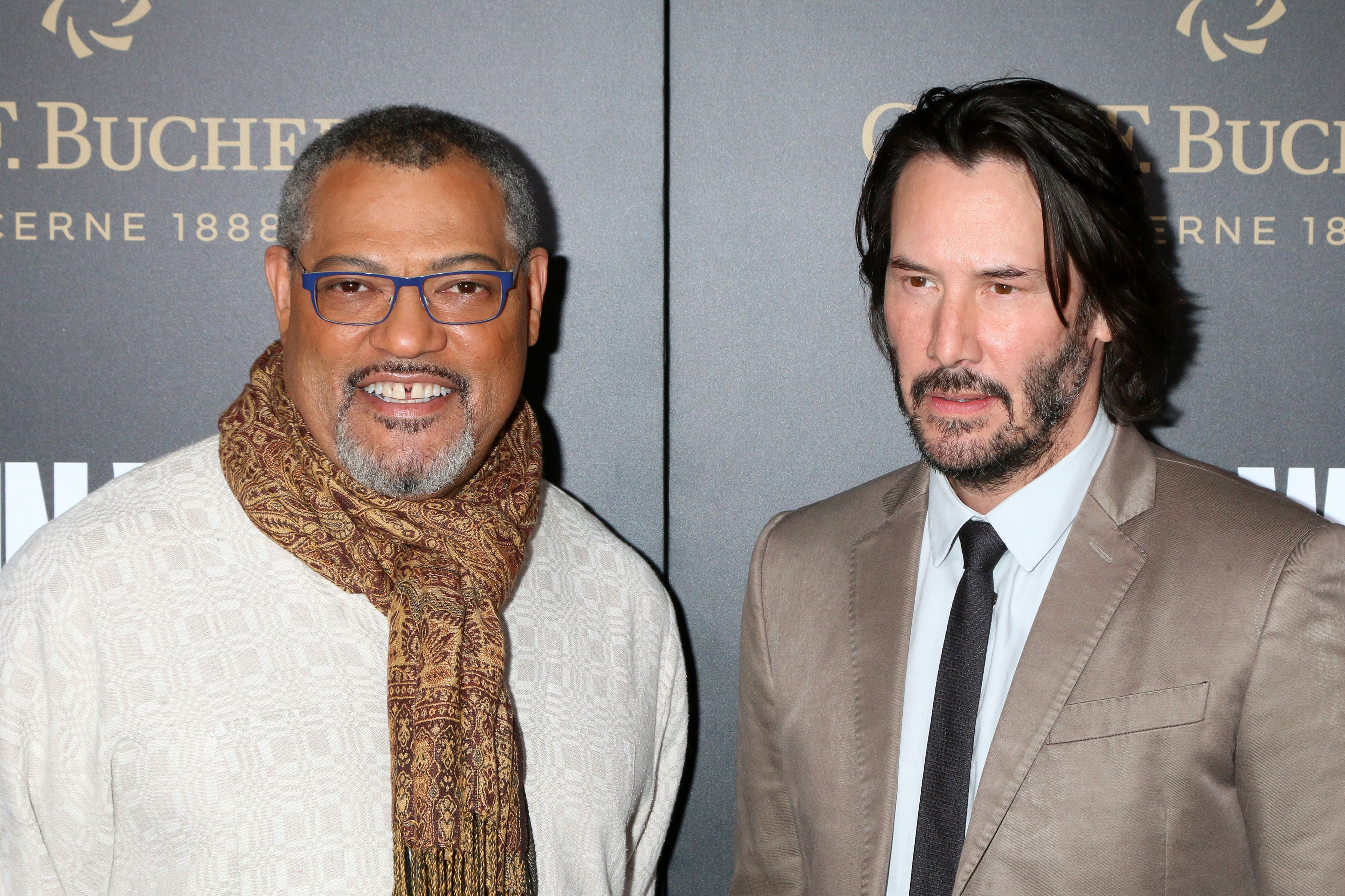 Laurence Fishburne with Keanu Reeves