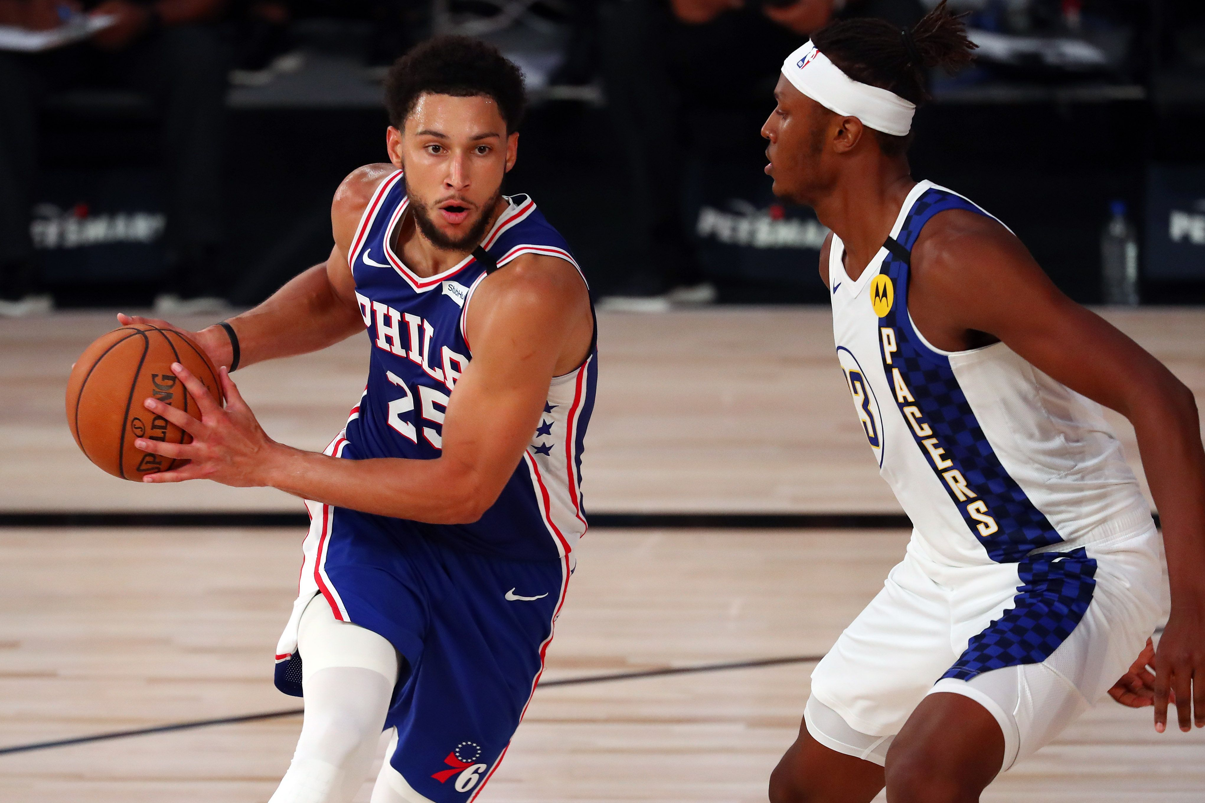 Ben Simmons going up against Myles Turner