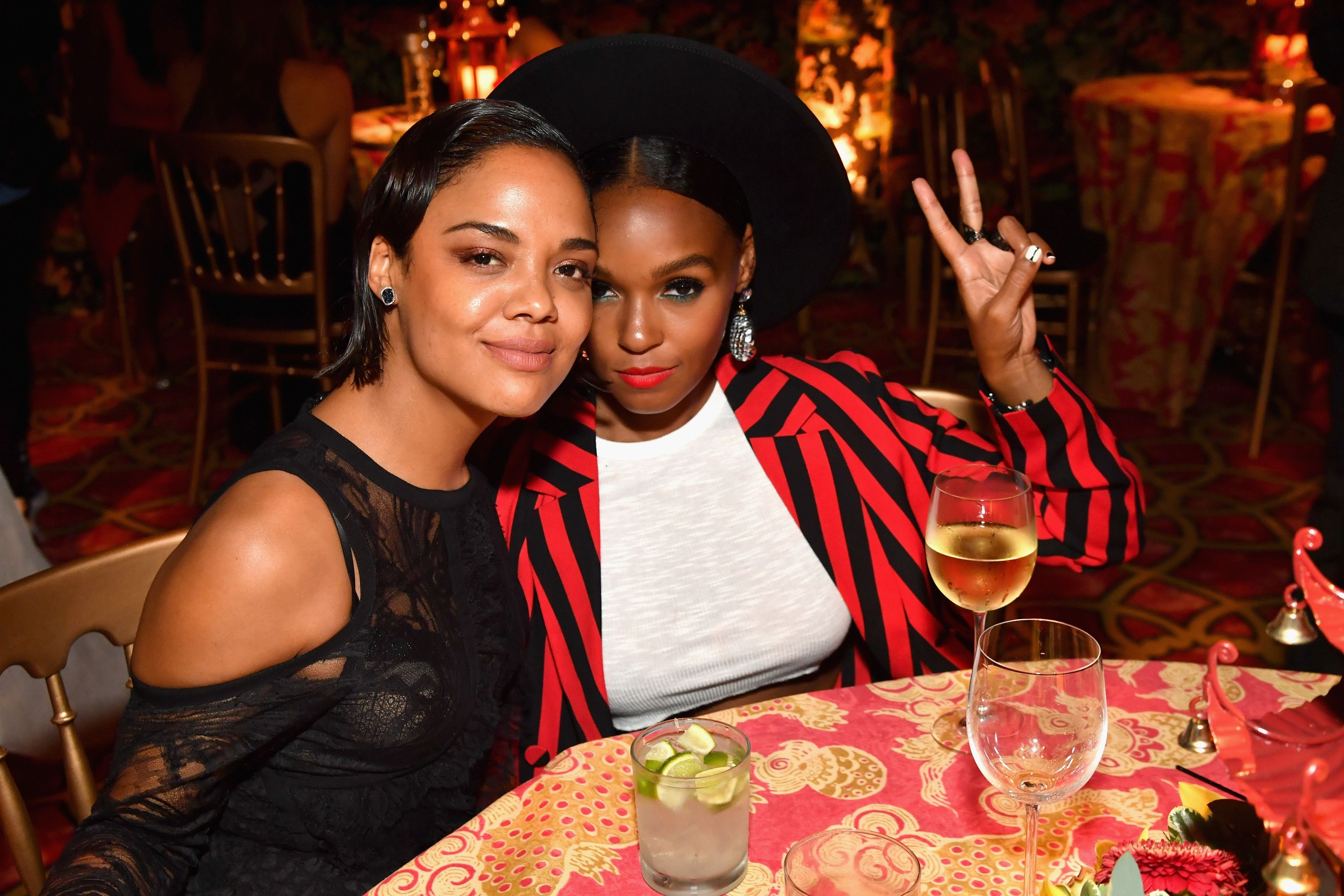 Tessa Thompson and Janelle Monae out to dinner