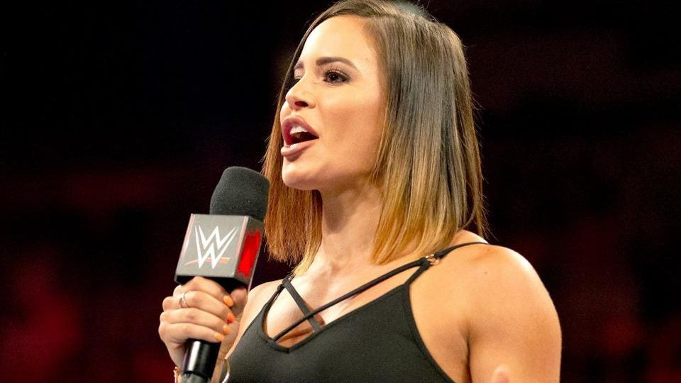 Interviewer Charly Caruso speaks on an episode of Monday Night Raw.