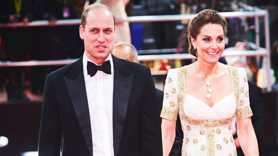 Prince William and his wife Kate Middleton at the 2020 BAFTA