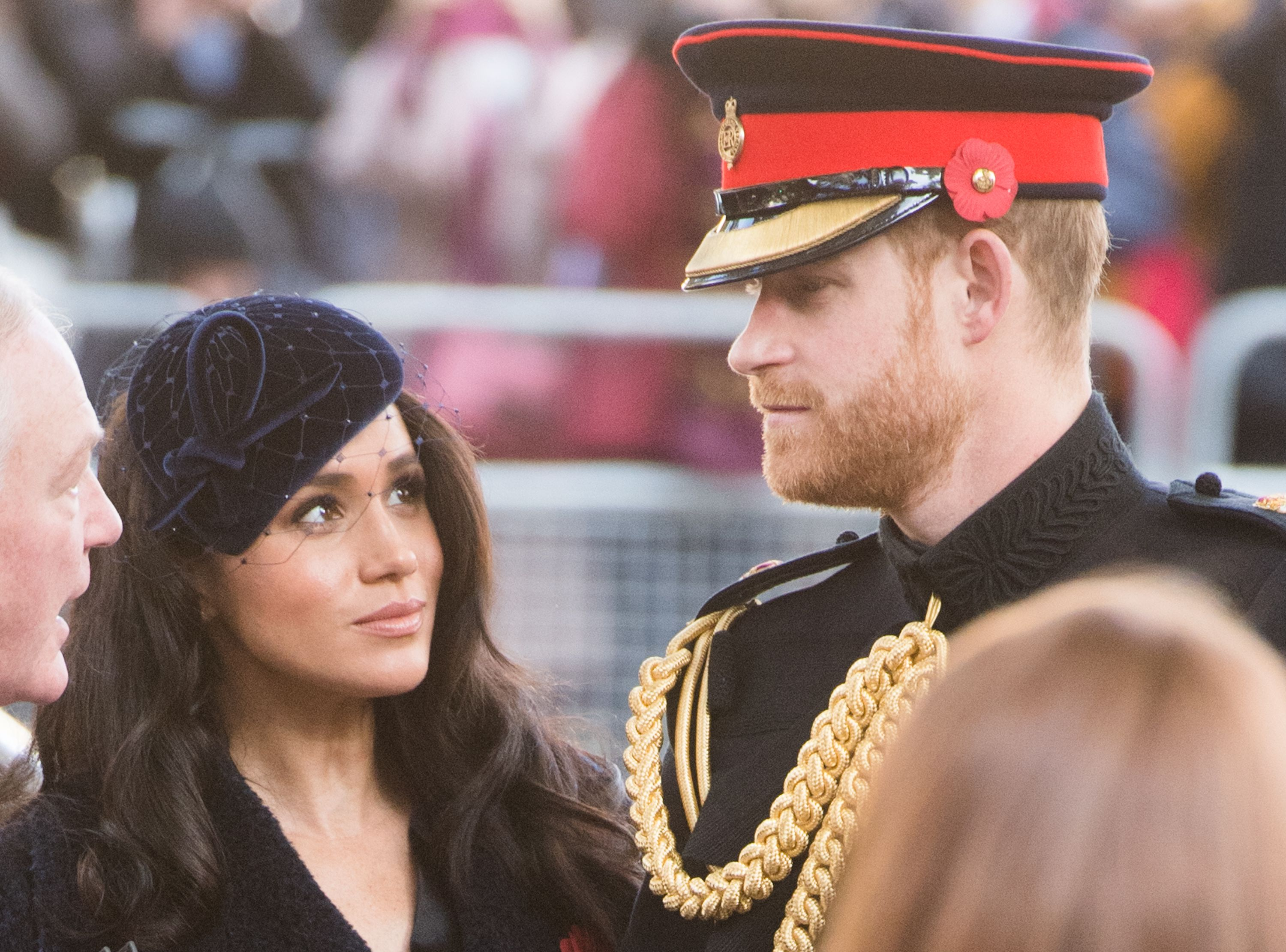 Meghan Markle and Prince Harry in uniform at an engagement