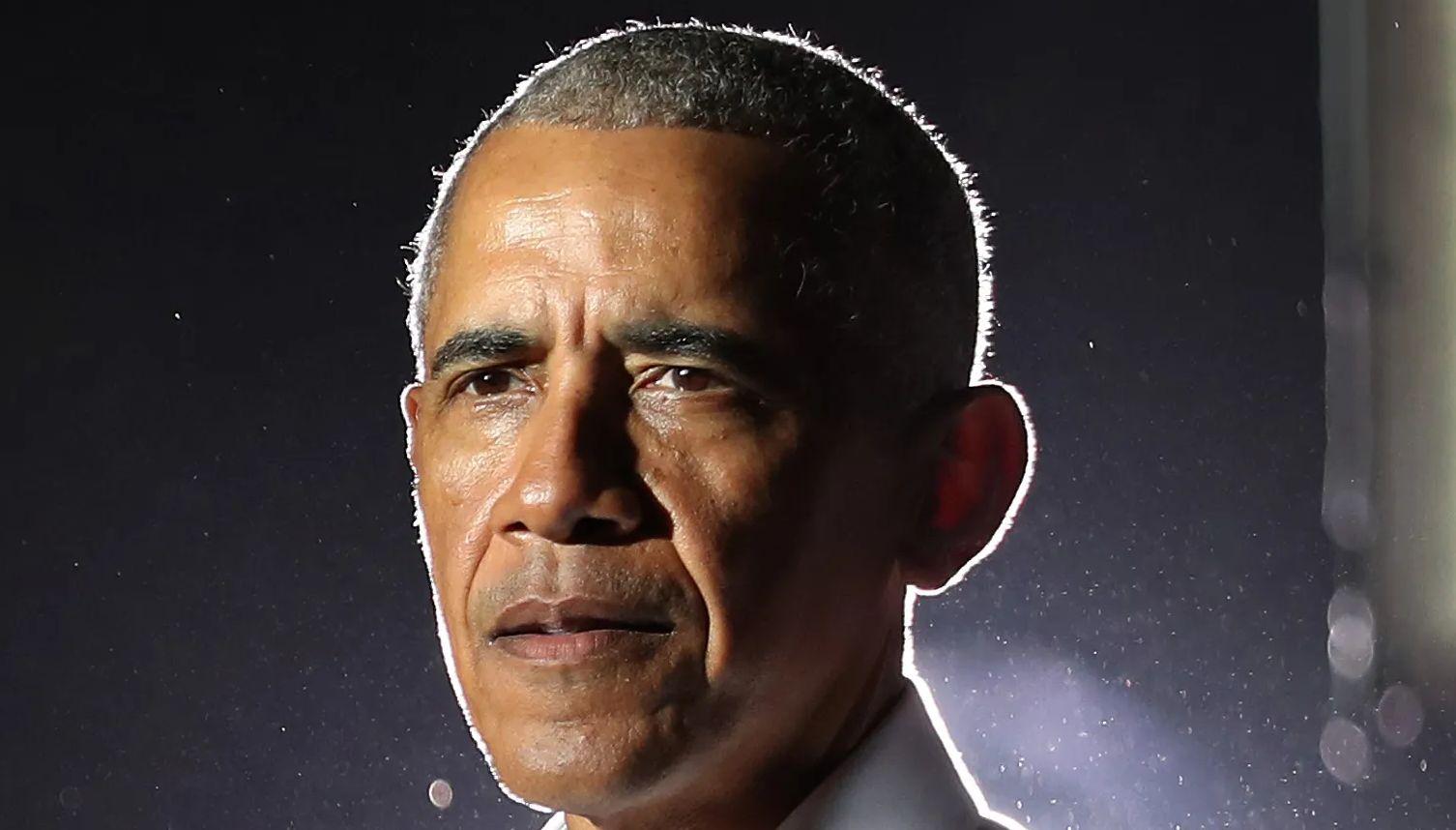Former President Barack Obama delivers a speech.