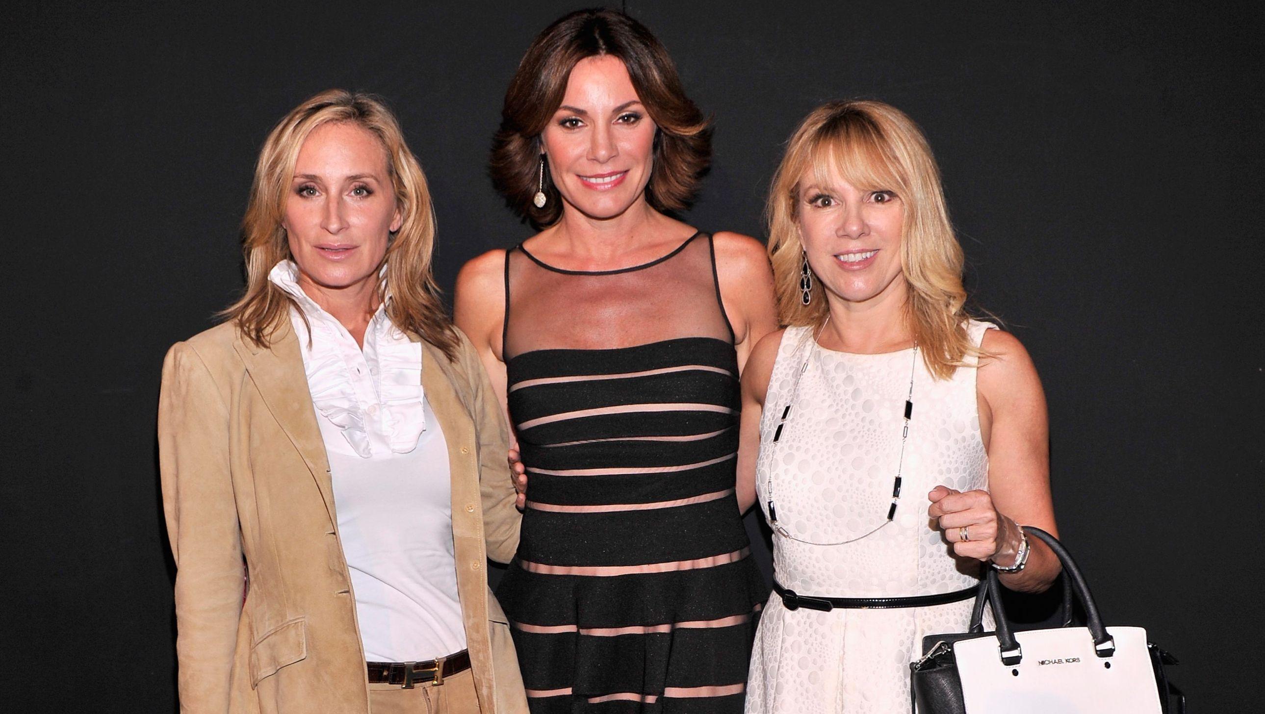 Sonja Morgan wears a beige blazer with Luann de Lesseps and Ramona Singer in dresses.