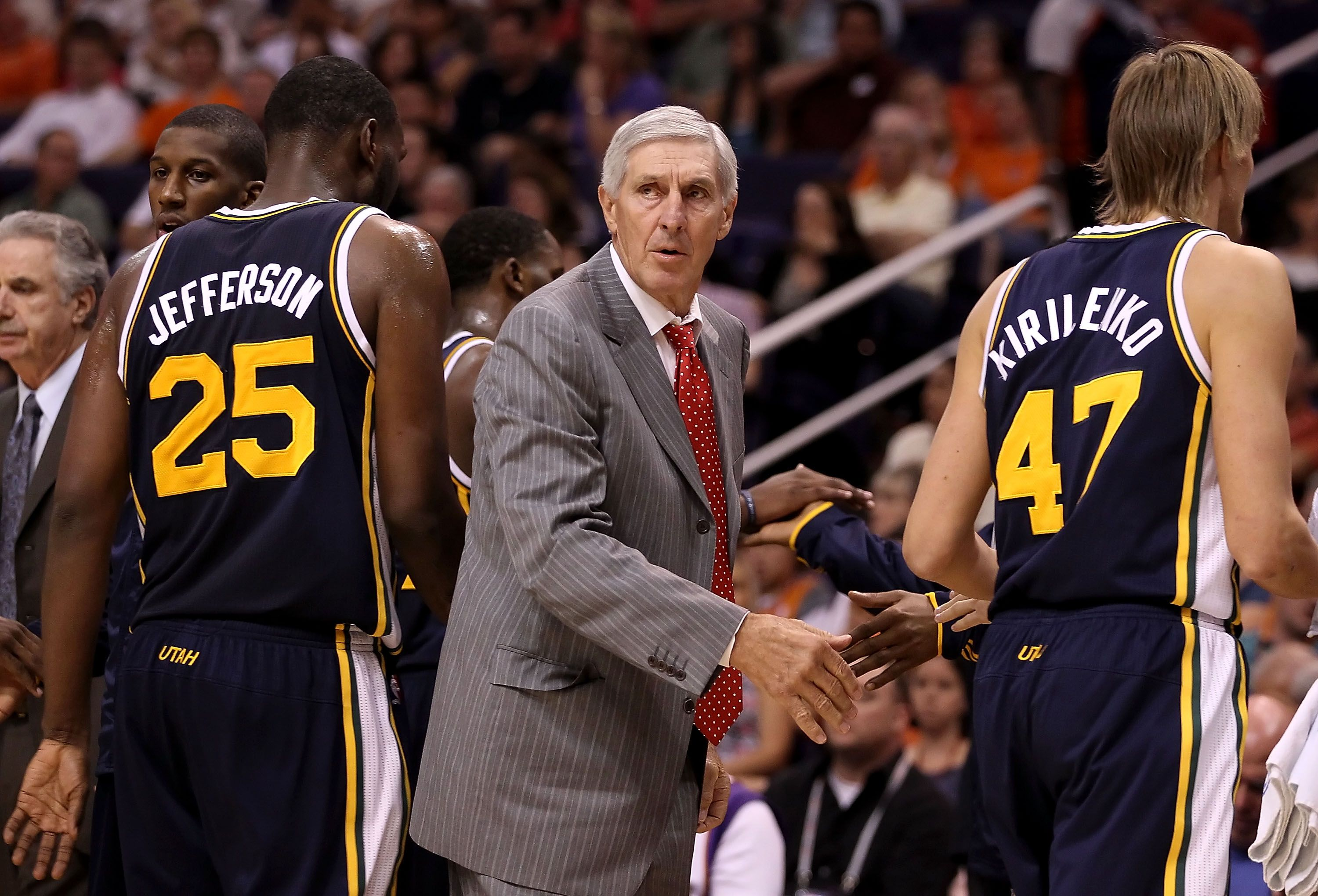 Jerry Sloan coaching the Utah Jazz