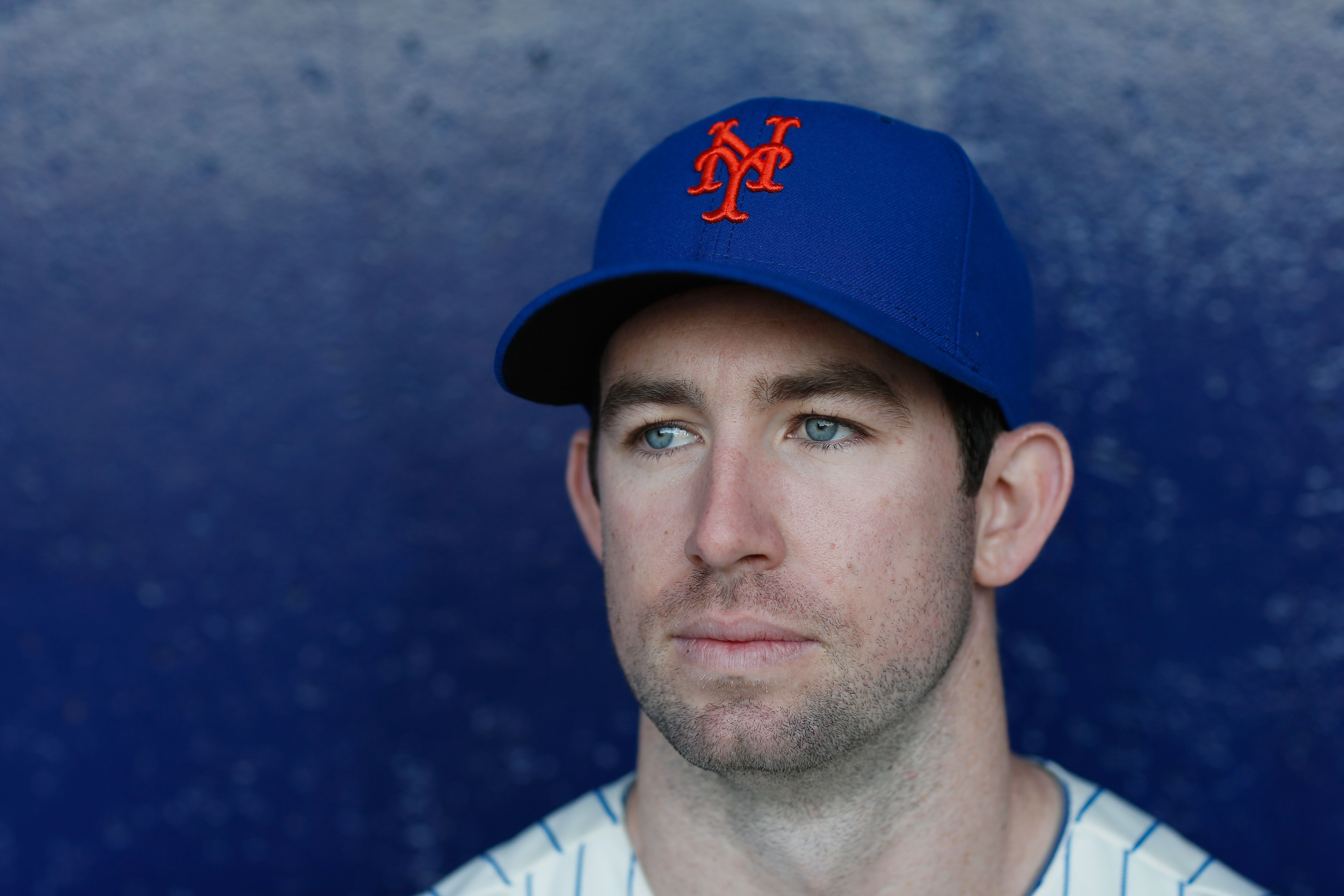 Mike Baxter looks handsome in this up-close picture of him in his baseball outfit.