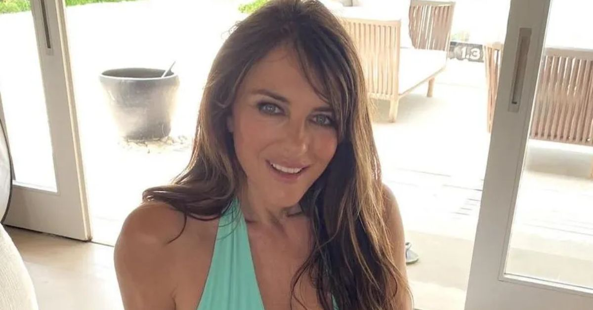 Elizabeth Hurley Stuns In Turquoise Bikini for Beach Frolic - The Blast