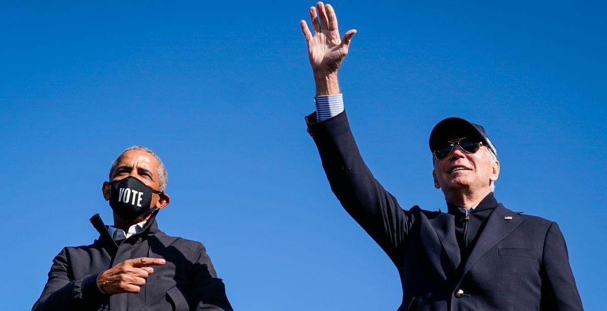 Former President Barack Obama, President Joe Biden during a political rally.