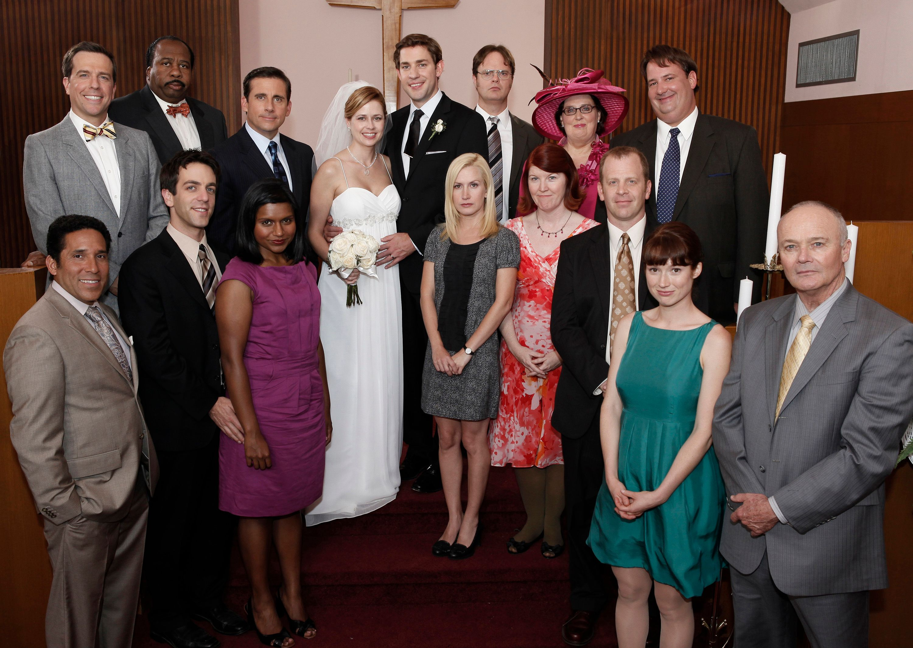 The entire office at Pam and Jim's Wedding