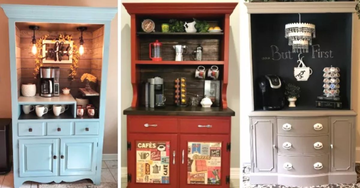 People Are Upcycling Old Kitchen Hutches Into Cozy Coffee Bars