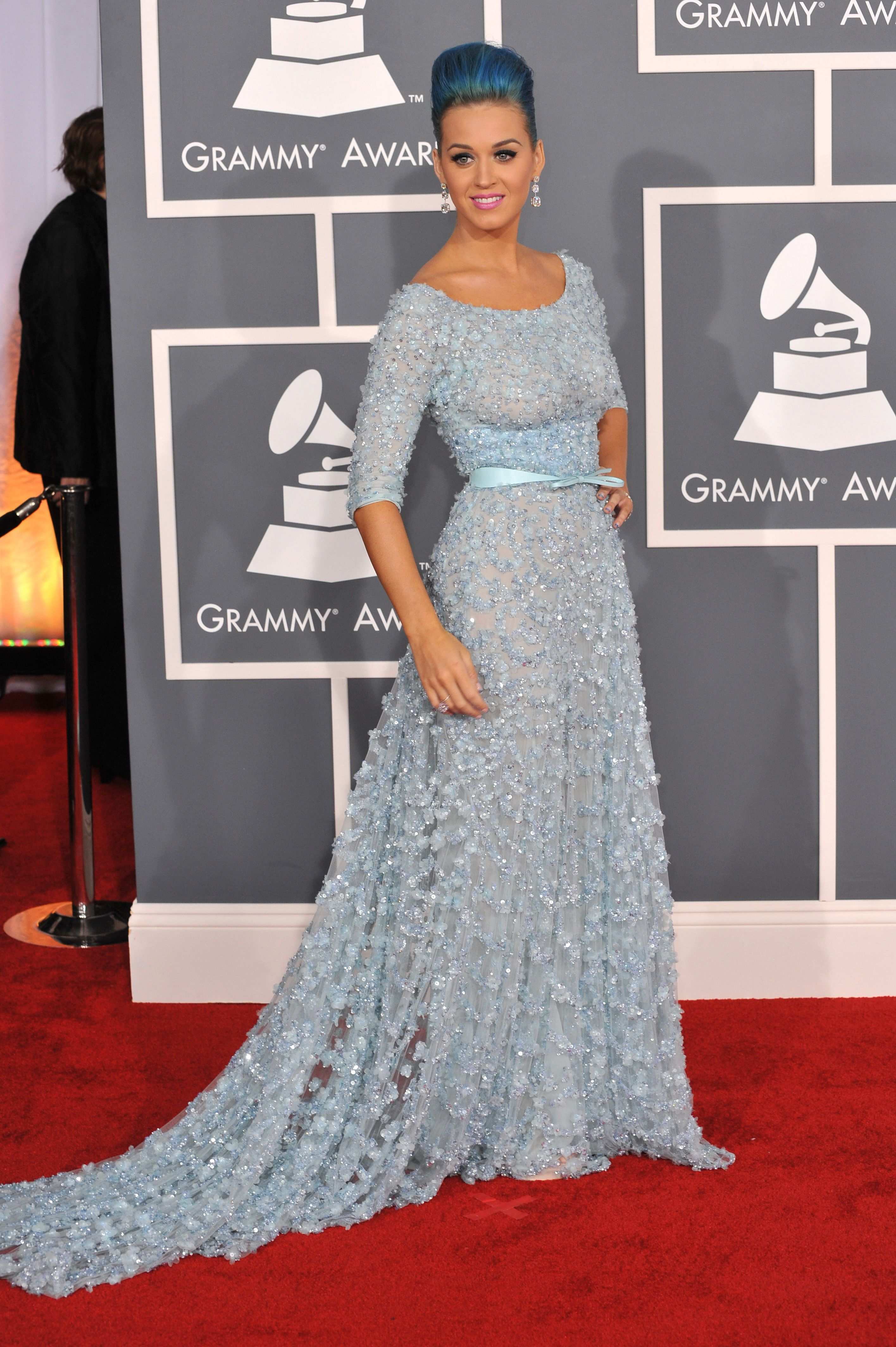 Katy Perry wearing blue gown with blue hair