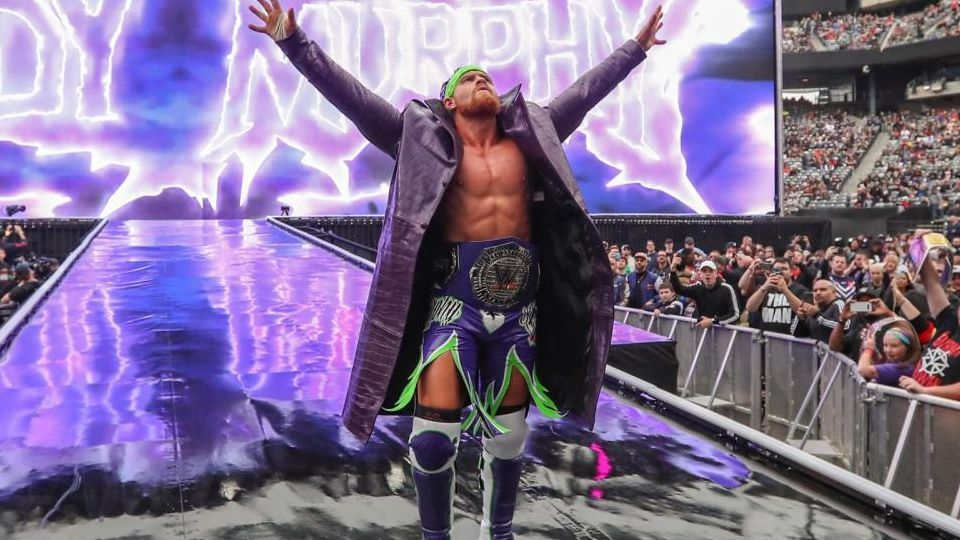 Murphy (then Buddy Murphy) poses with his Cruiserweight Championship at WrestleMania 35 in 2019.