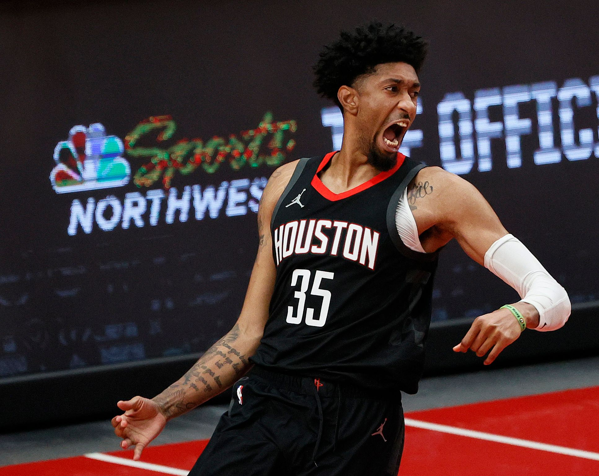 Christian Wood celebrating Rockets' victory