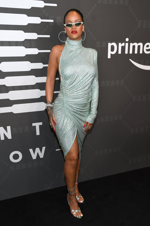 Rihanna Poses on the Amazon Prime red carpet
