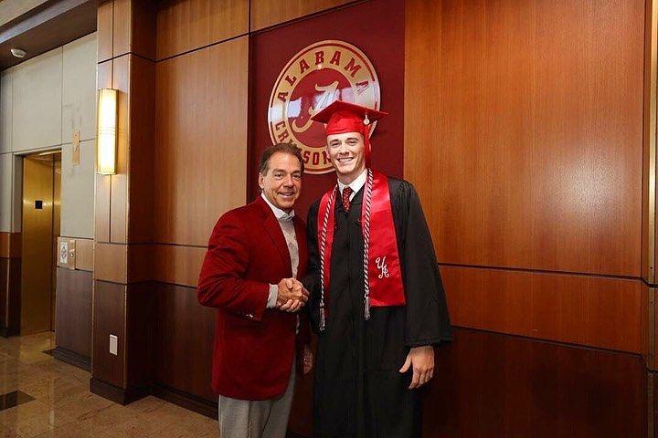 Mac Jones with Alabama head coach Nick Saban.