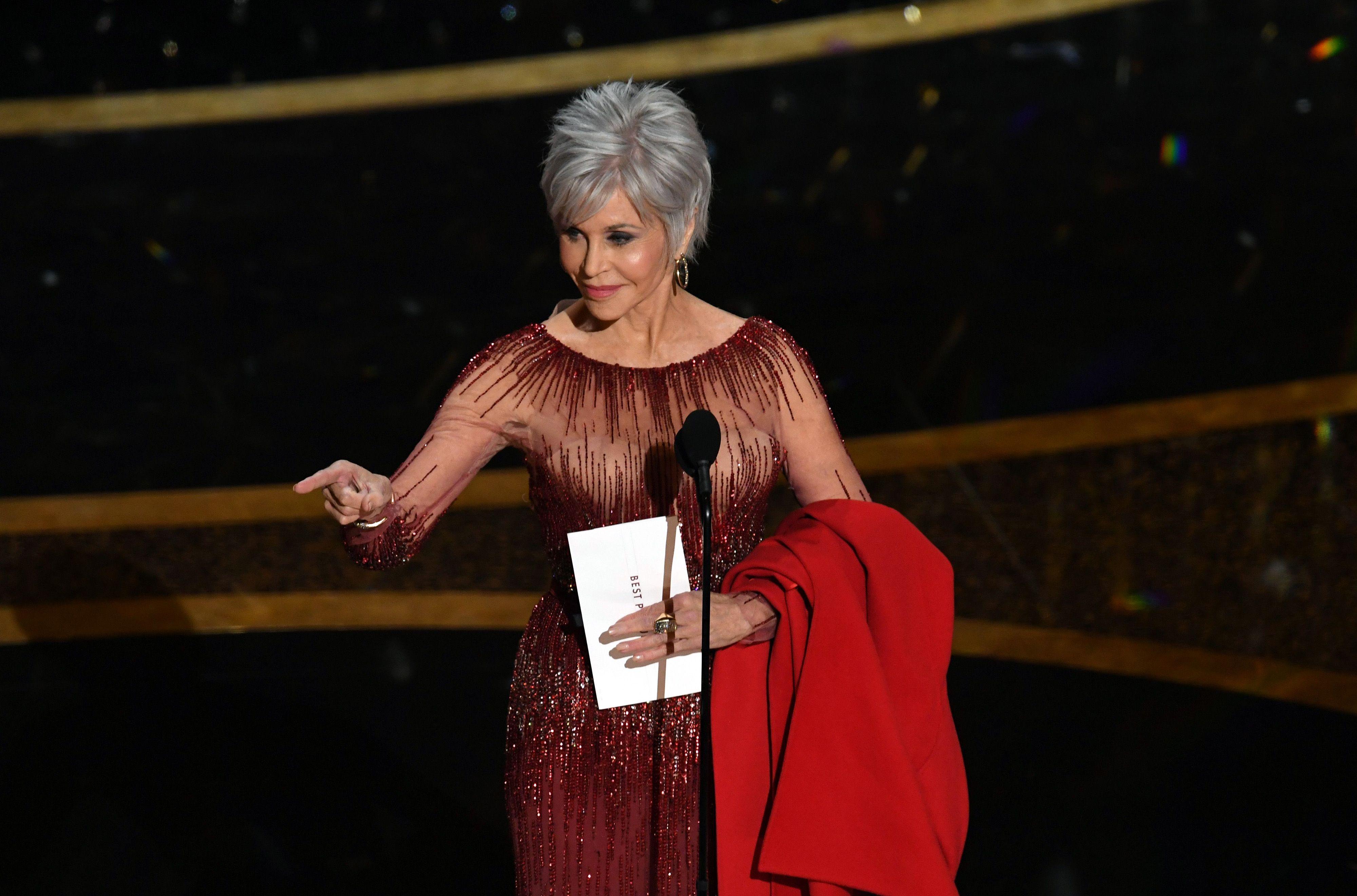 Jane Fonda at Academy Awards, pointing