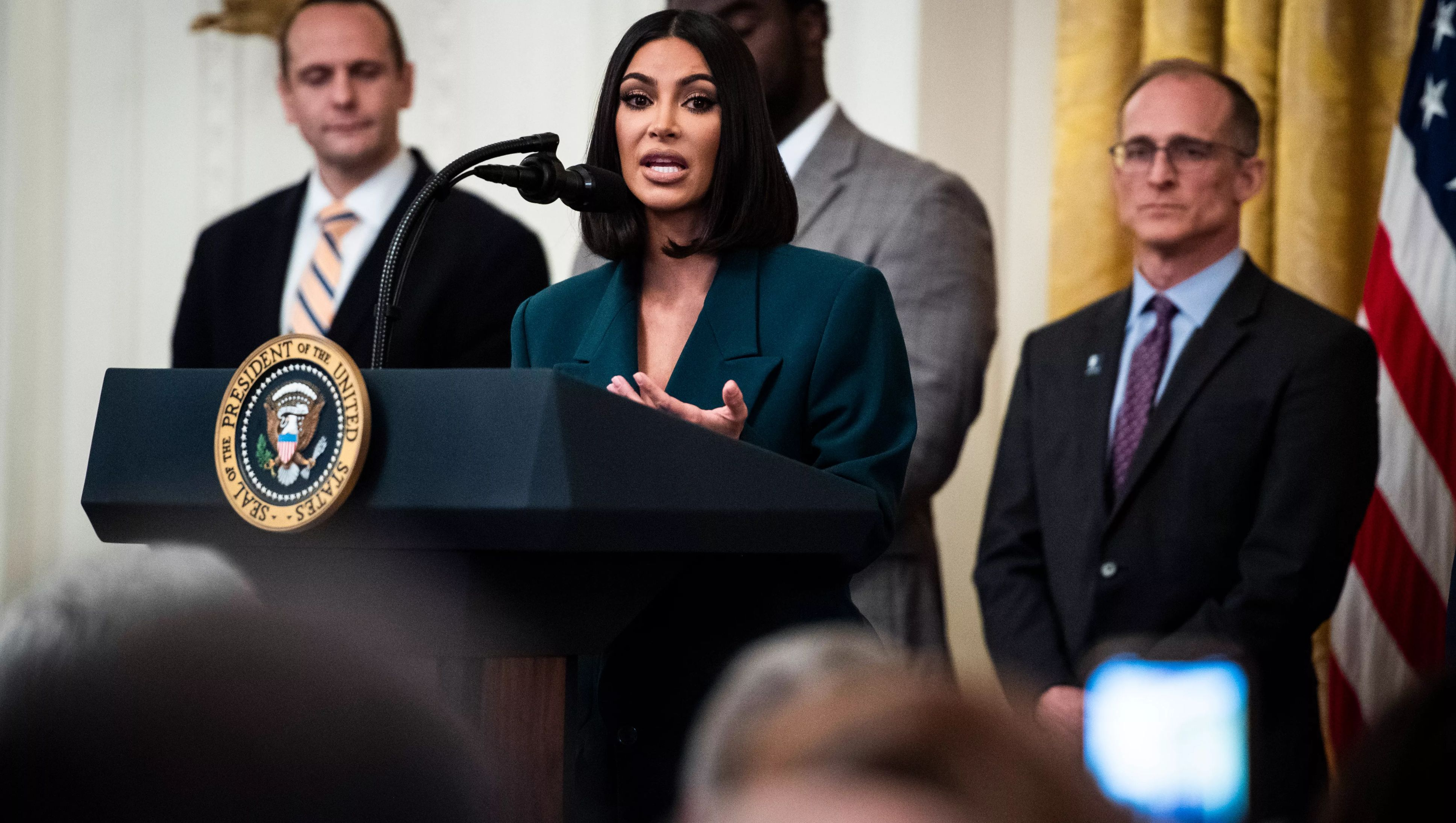 WASHINGTON, DC - JUNE 13 : Kim Kardashian speaks with President Donald J. Trump at an event on promoting second chance hiring to ensure Americans have opportunities to succeed after leaving prison in the East Room at the White House on Thursday, June 13, 2019 in Washington, DC.