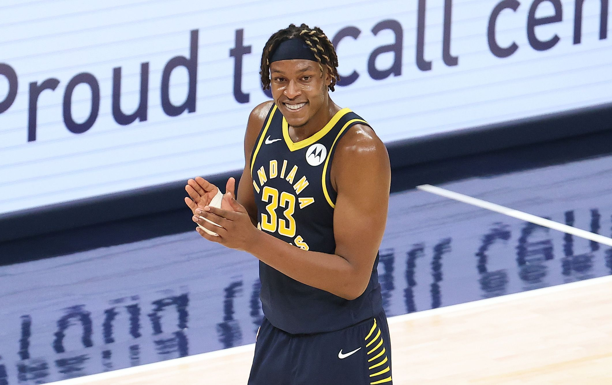 Myles Turner clapping his hands after hearing the ref's decision