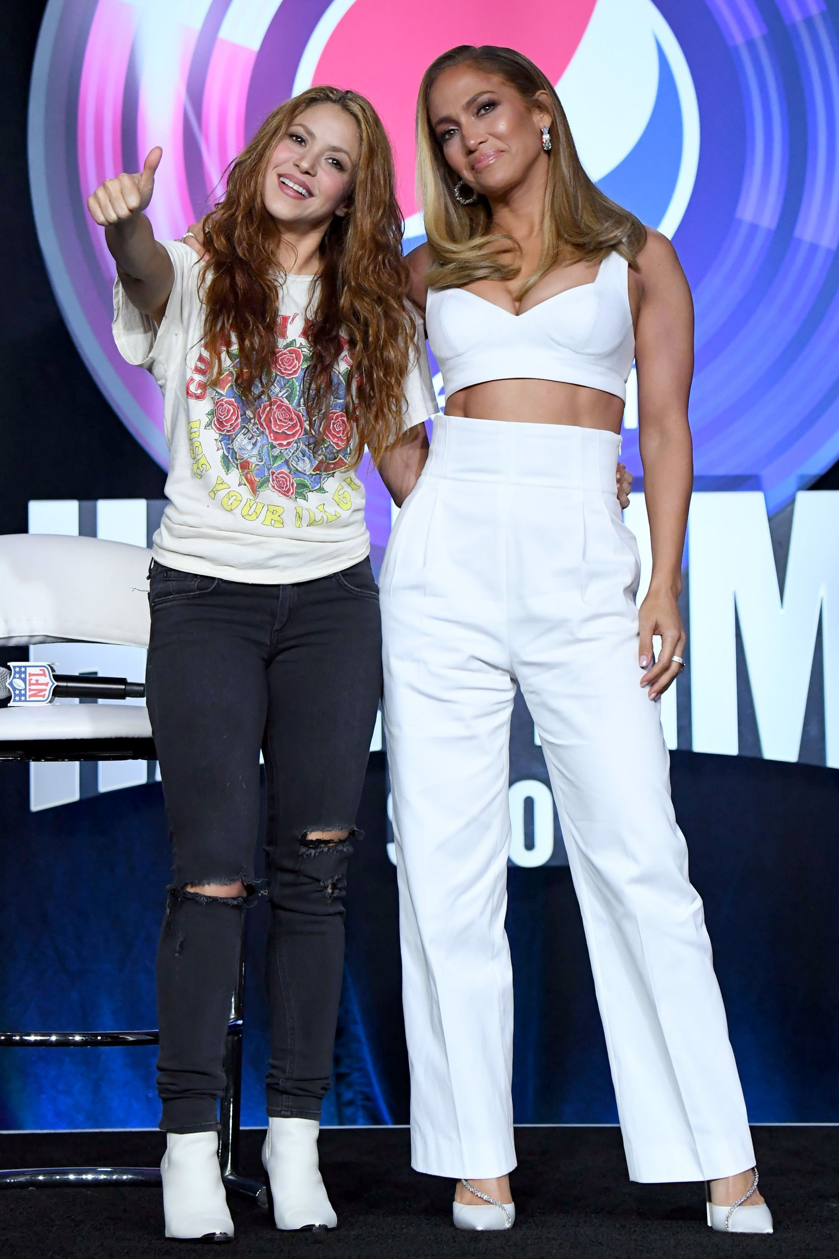 J. Lo and Shakira, posing together before the halftime show.