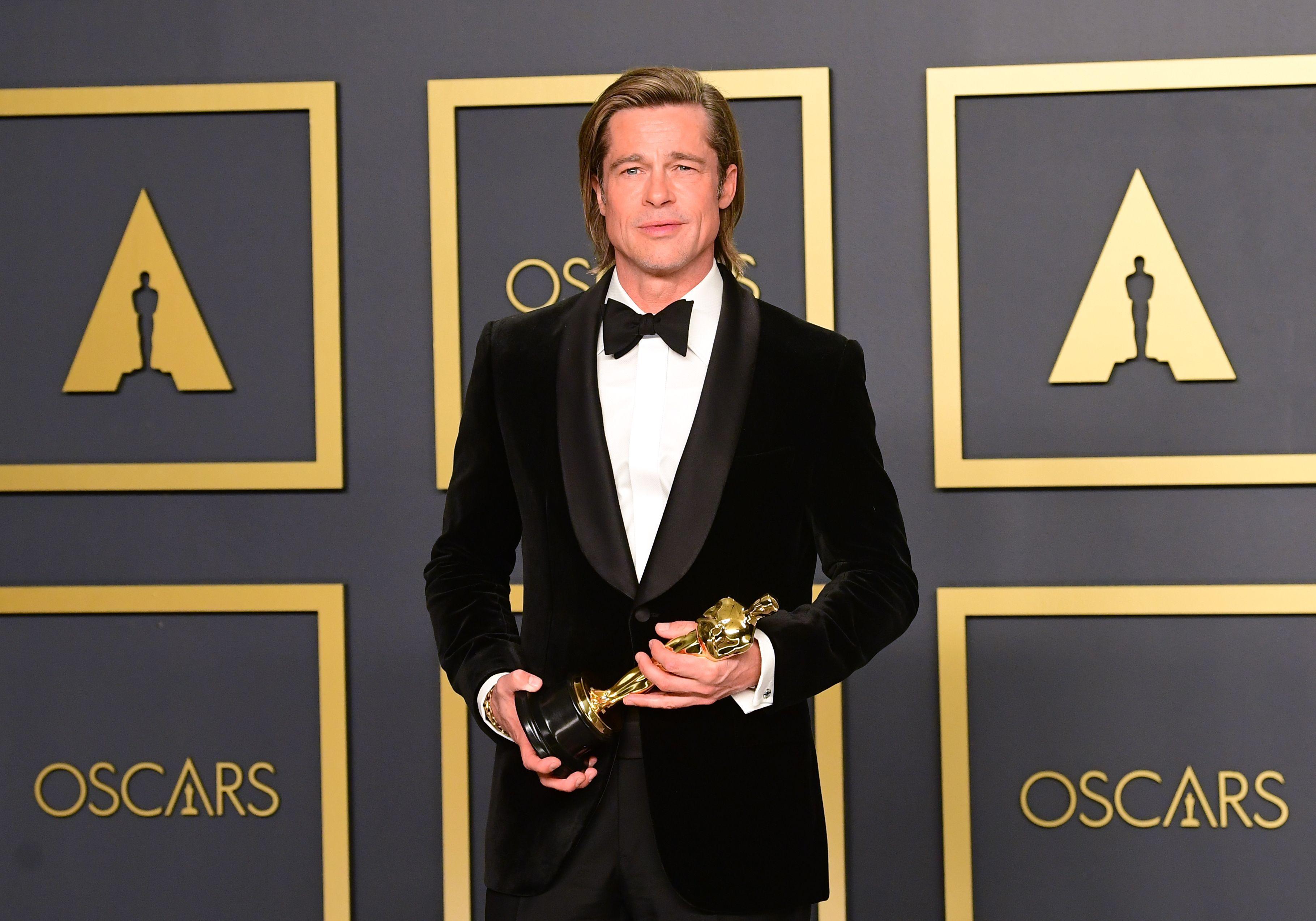Brad Pitt Holding His Oscar