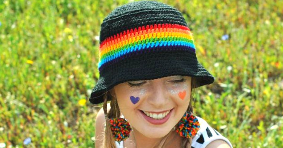 Celebrate Pride With A Cute And Trendy Rainbow Crochet Bucket Hat