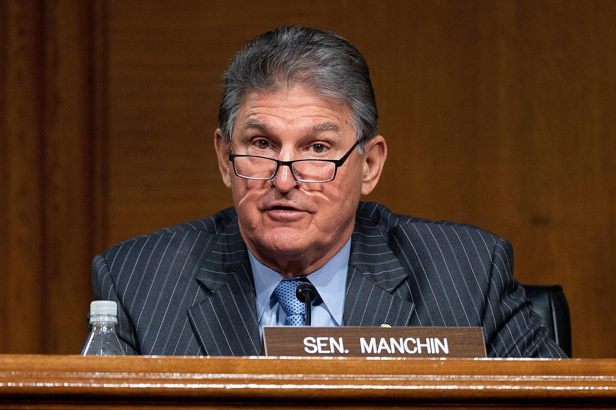 Sen. Joe Manchin speaks in the Senate.