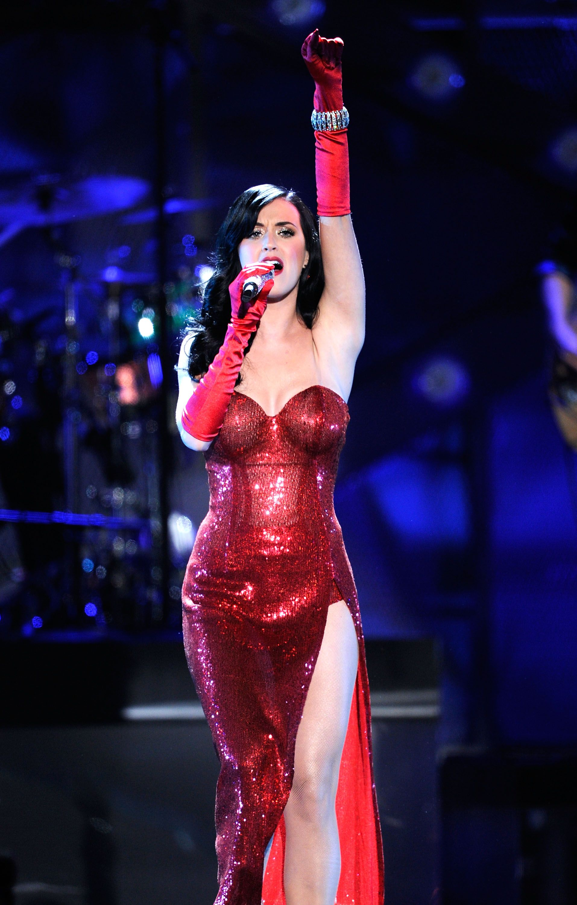 Katy Perry wearing glitter red dress