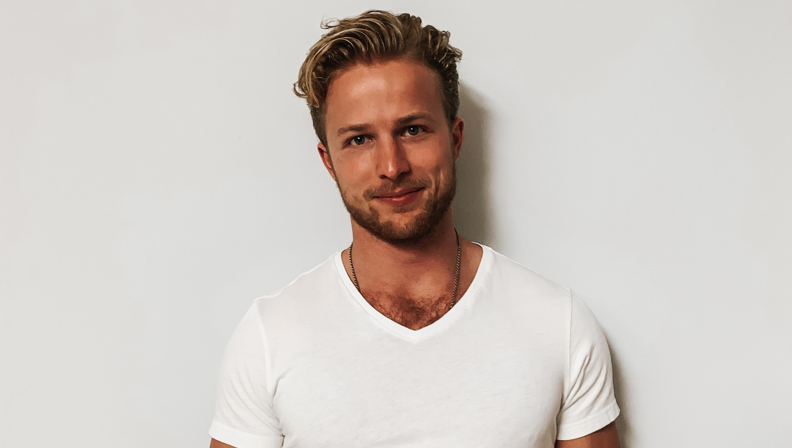 Man with white t shirt