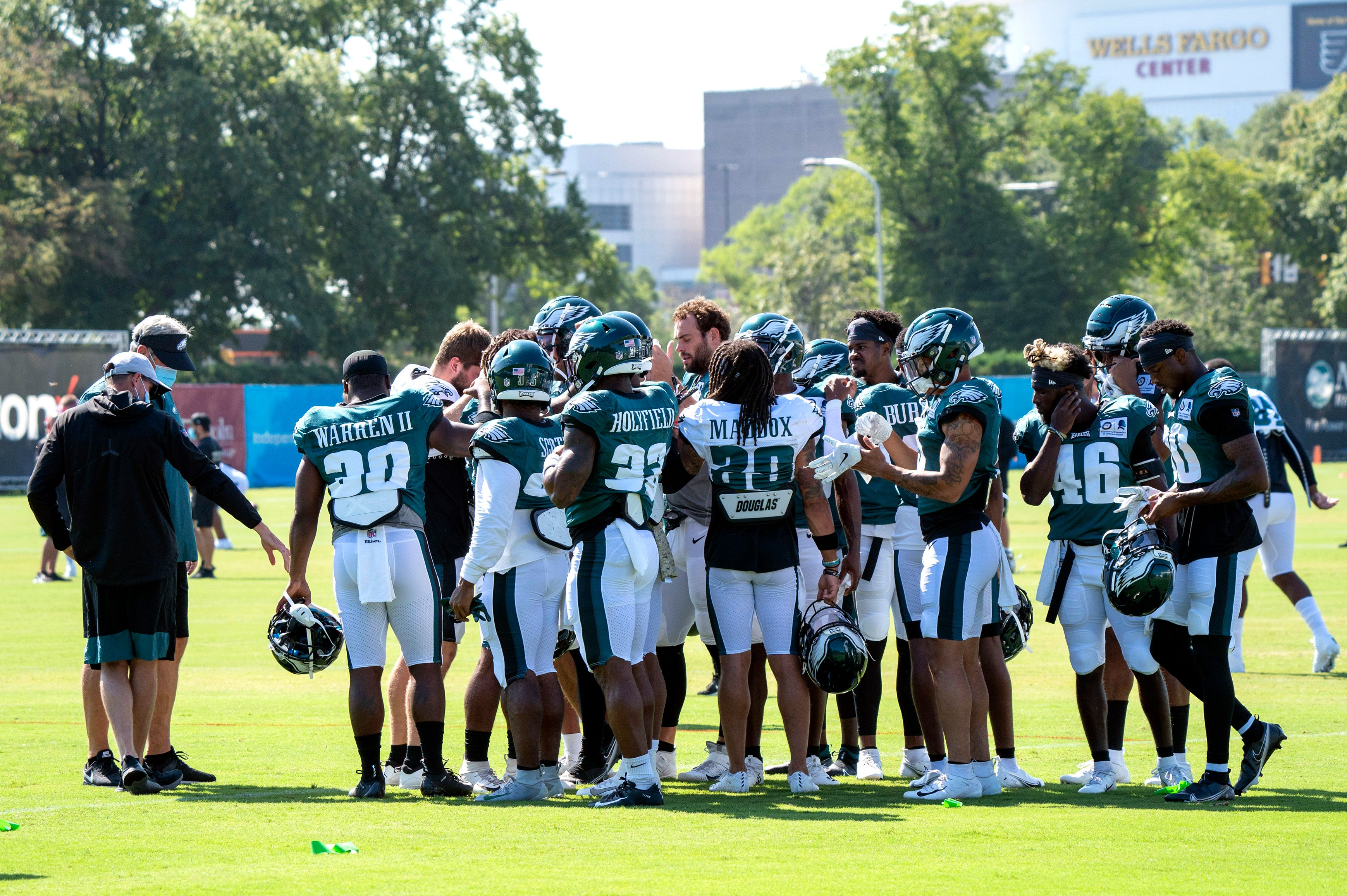 Members of the Philadelphia Eagles at practice.