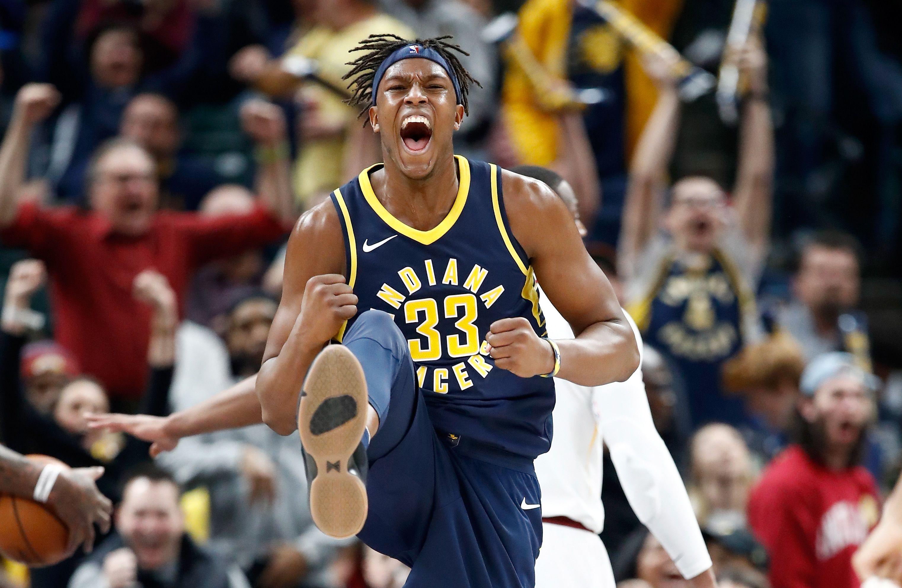 Myles Turner celebrating Pacers' victory