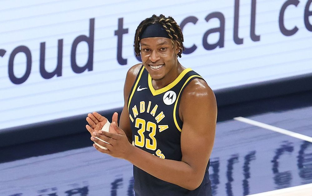 Myles Turner reacts after receiving a favorable call