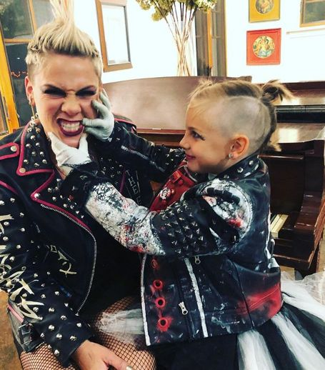 The artist P!nk with her daughter in matching leater jackets