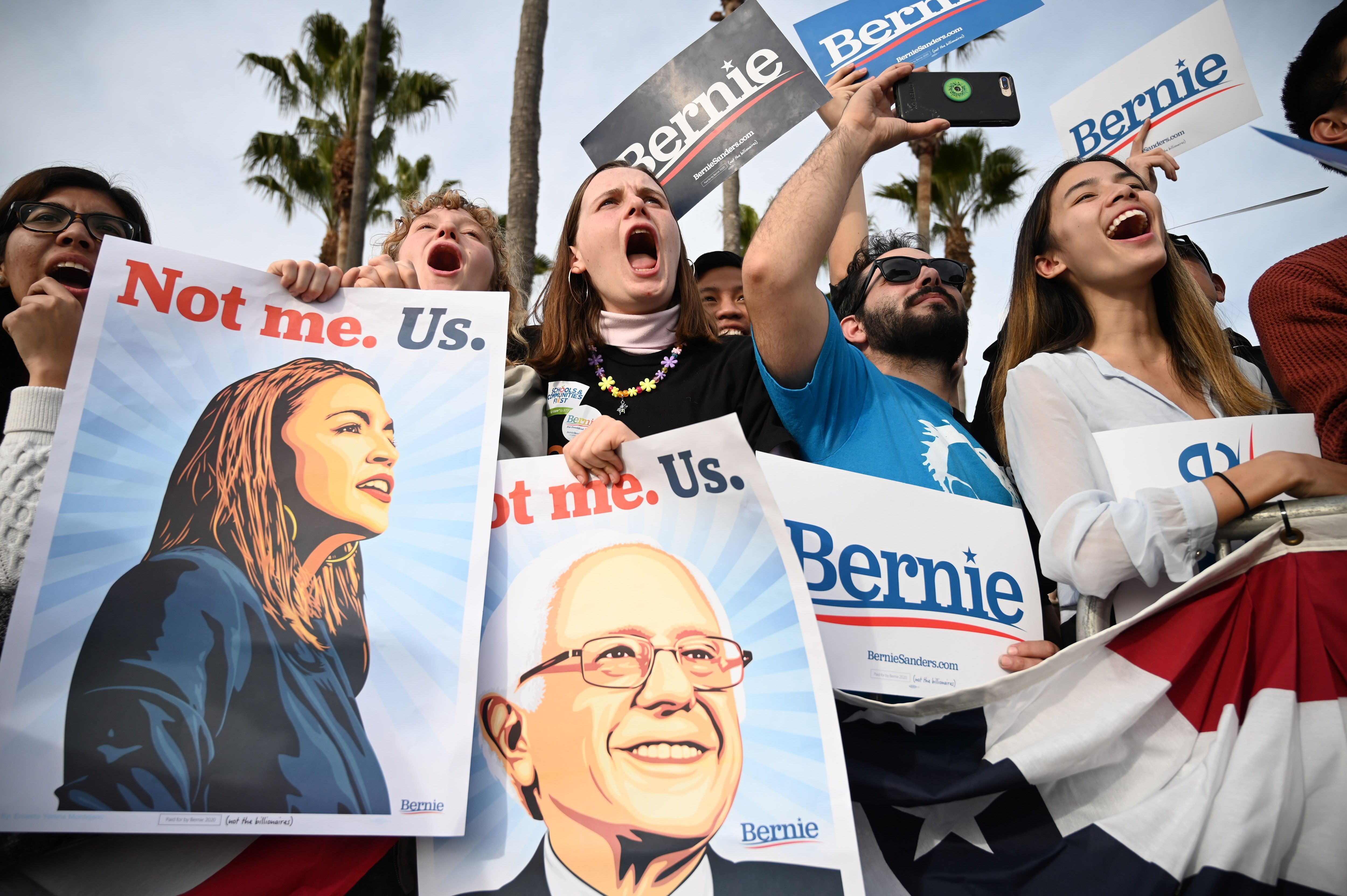 Bernie Sanders supporters at a rally