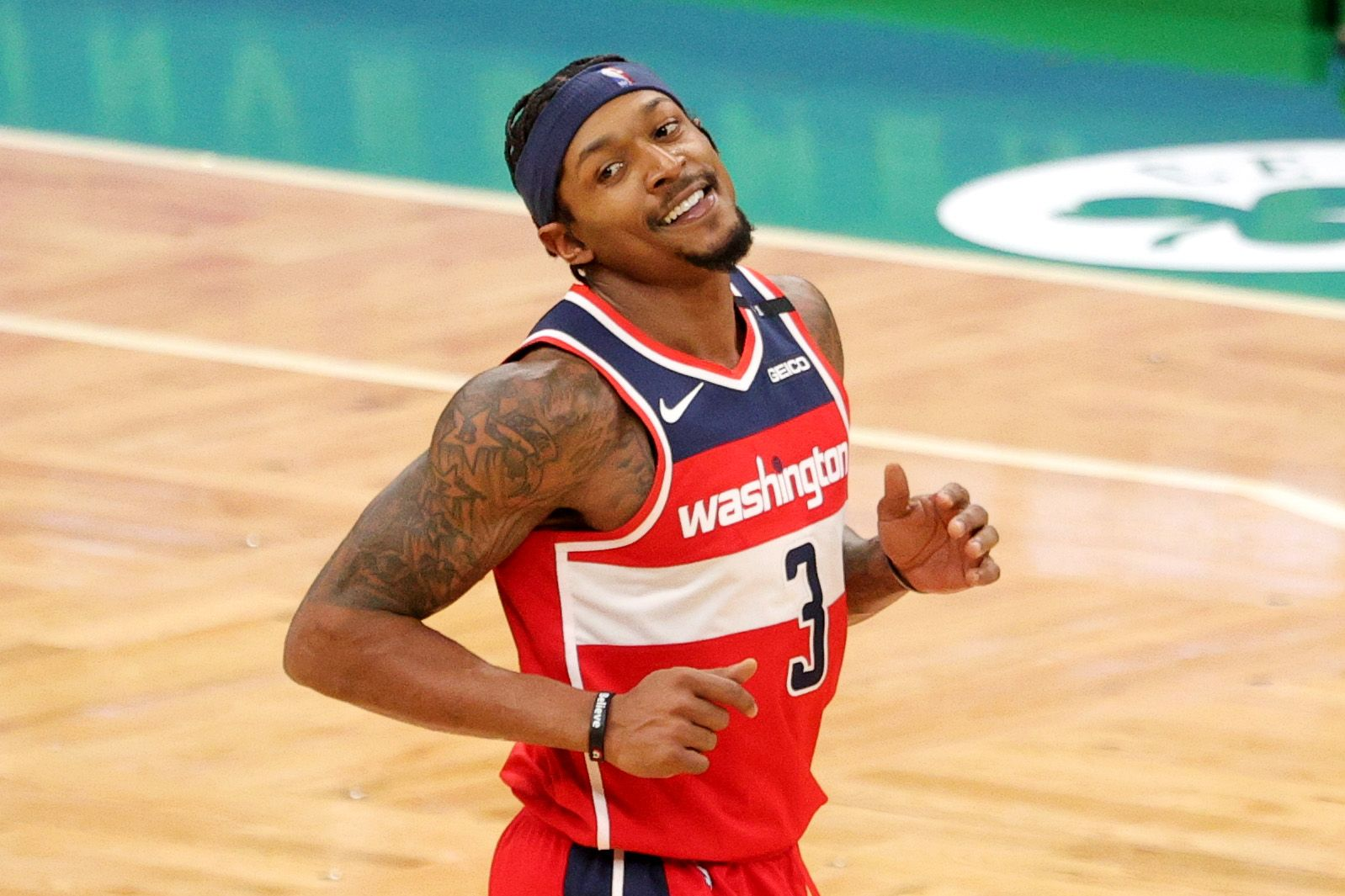 Bradley Beal making funny face after a successful play