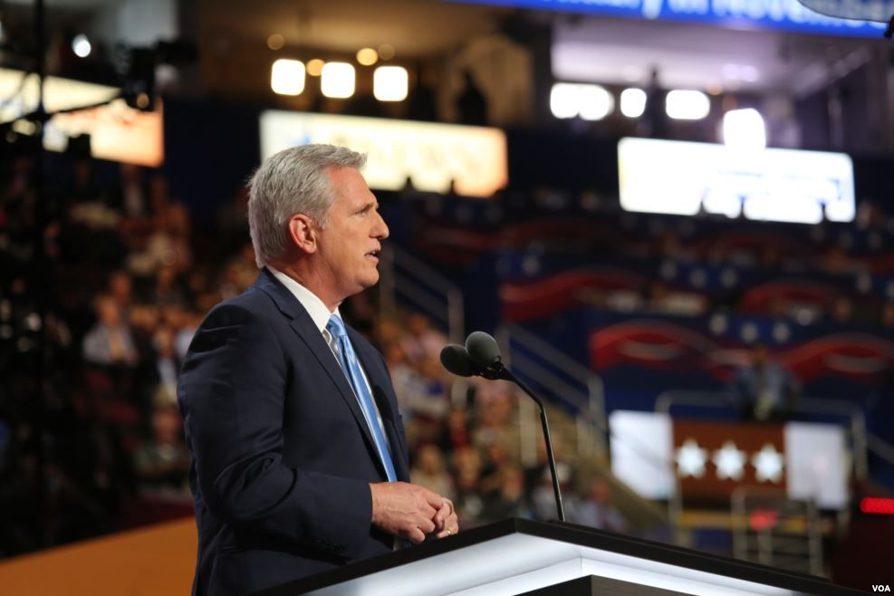 Kevin McCarthy speaking at the Republican National Convention in 2016.