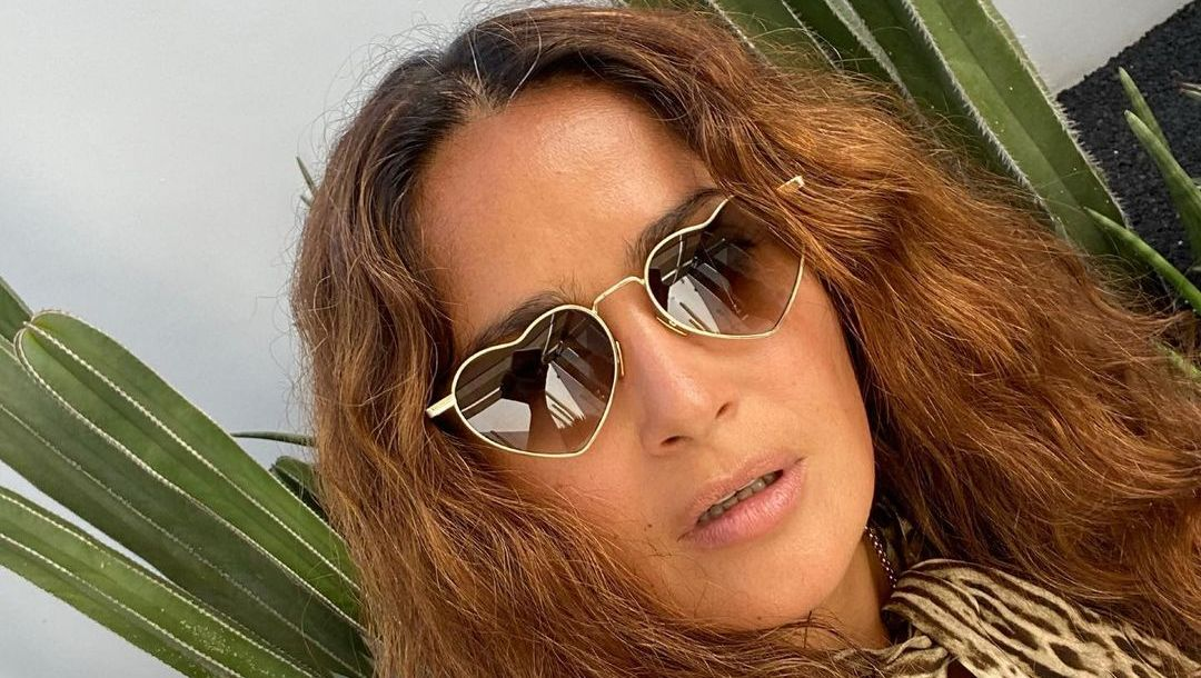 Salma Hayek with heart-shaped glasses